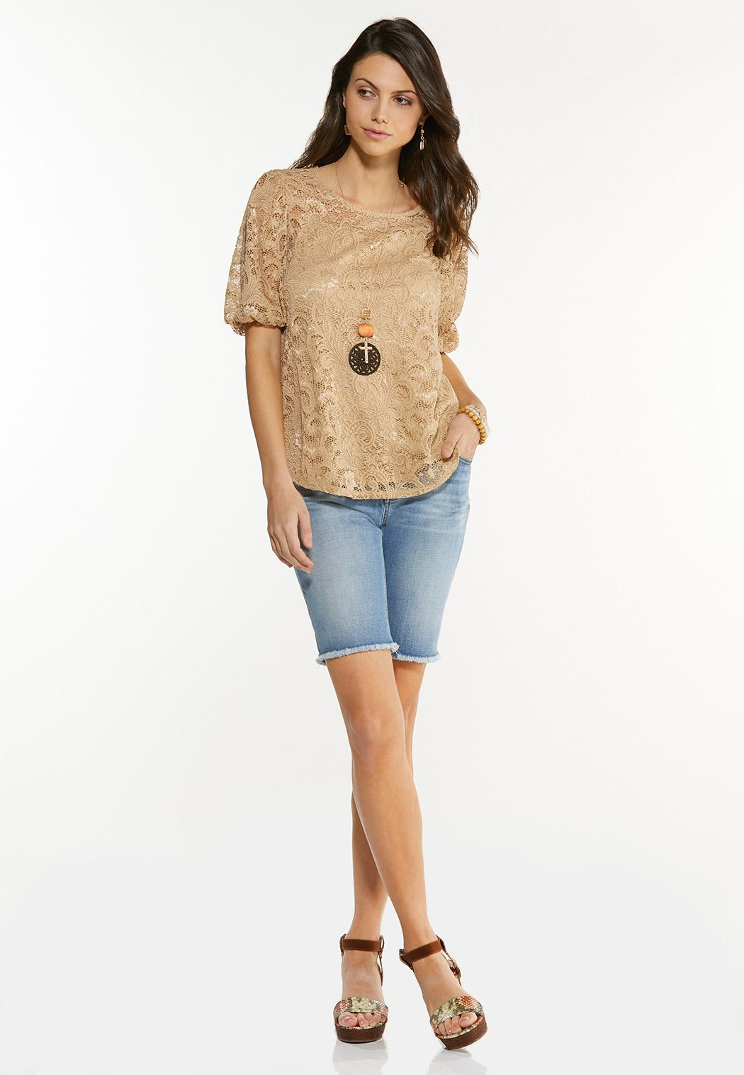 Plus Size Lace Balloon Sleeve Top (Item #44612794)