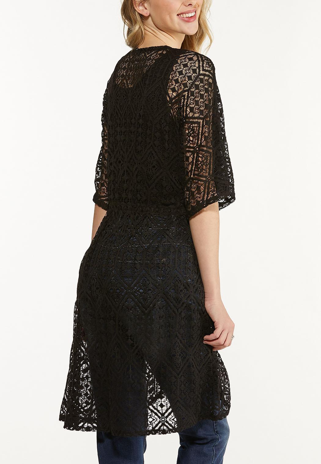 Plus Size Black Lace Kimono (Item #44612803)