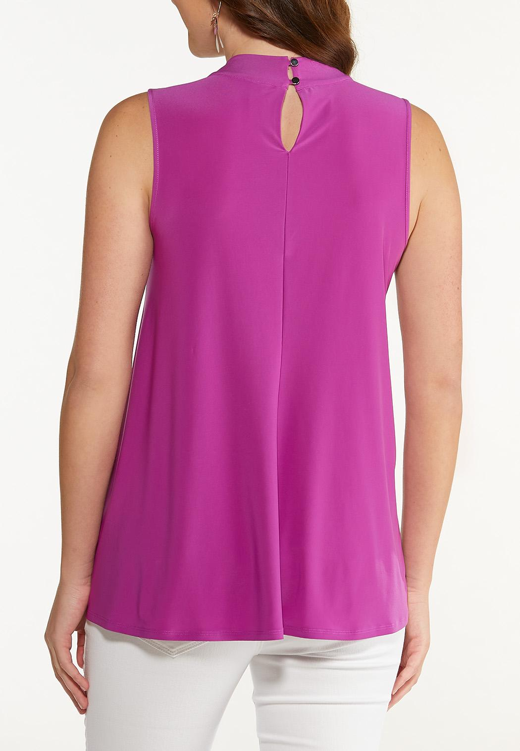 Plus Size Criss Cross Mock Neck Tank (Item #44612847)