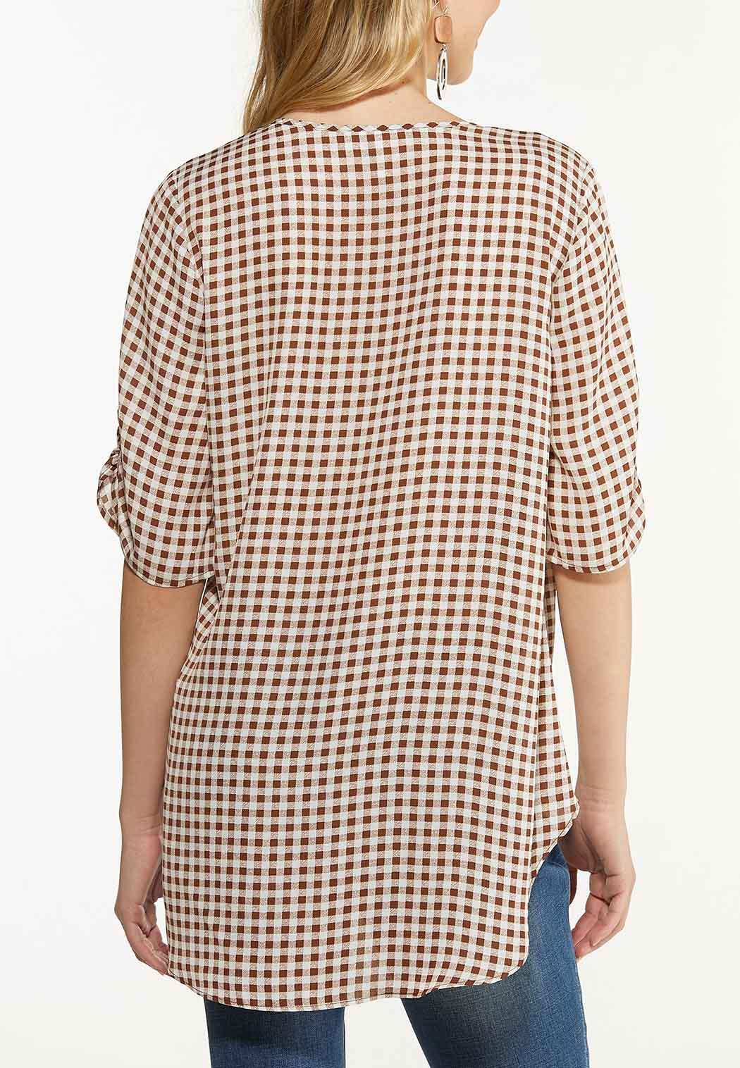 Plus Size Gingham High Low Tunic (Item #44612934)