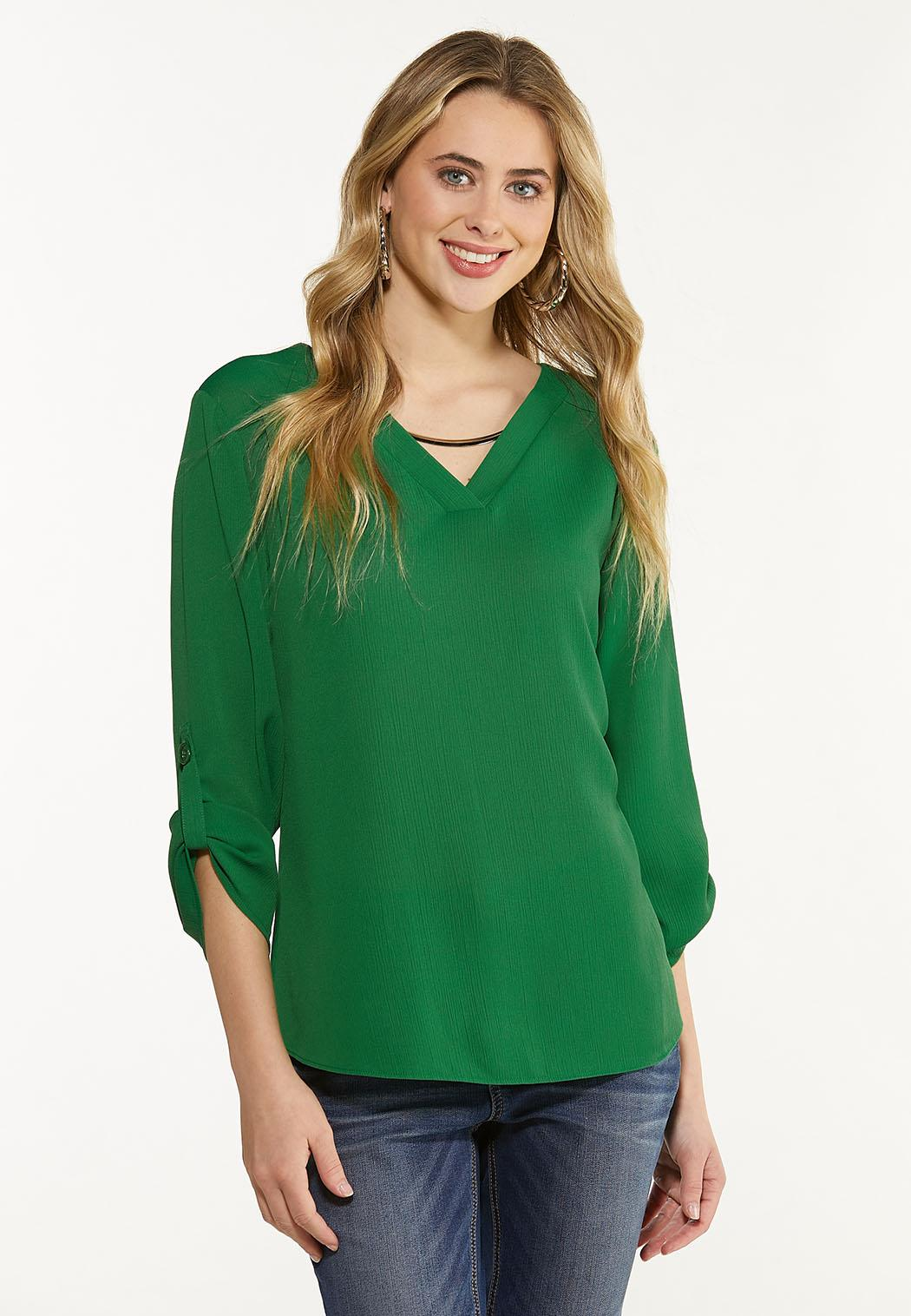 Plus Size Green Silver Hardware Top (Item #44613029)