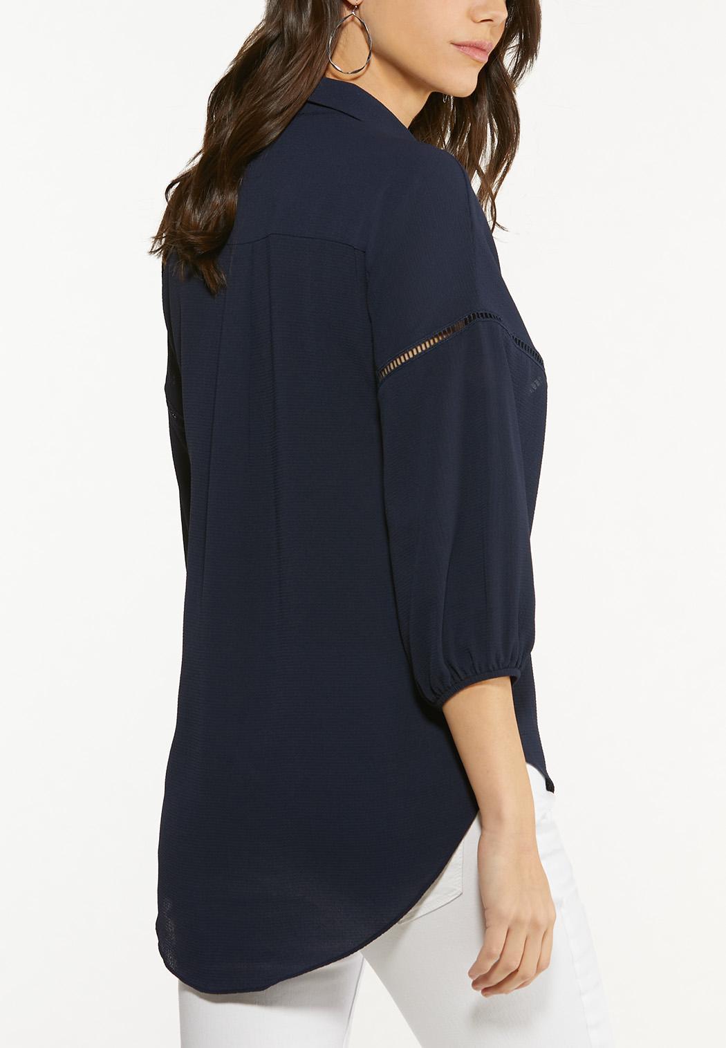 Plus Size Navy Lace Inset Top (Item #44613070)