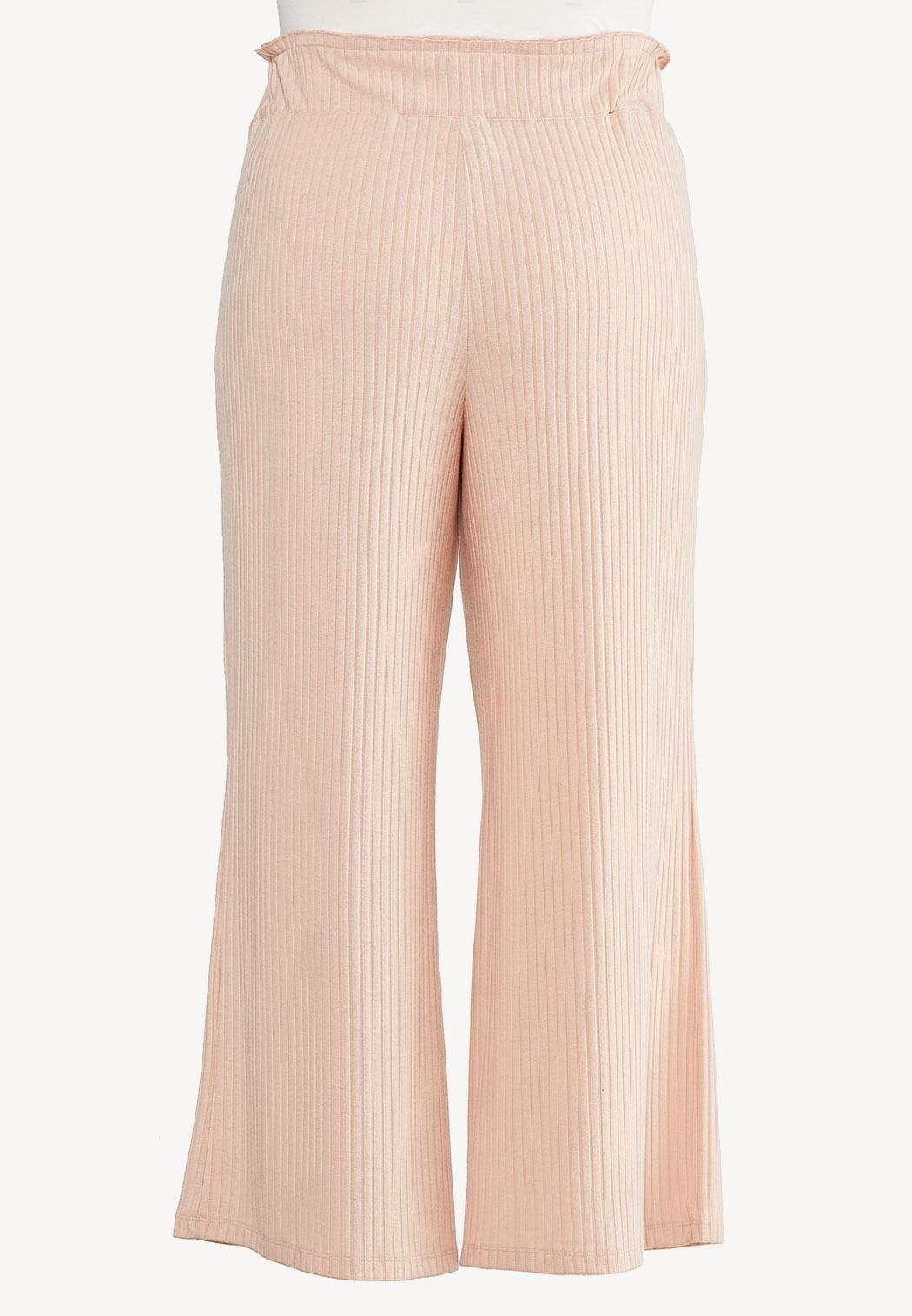 Plus Size Blushing Ribbed Lounge Pants (Item #44613485)