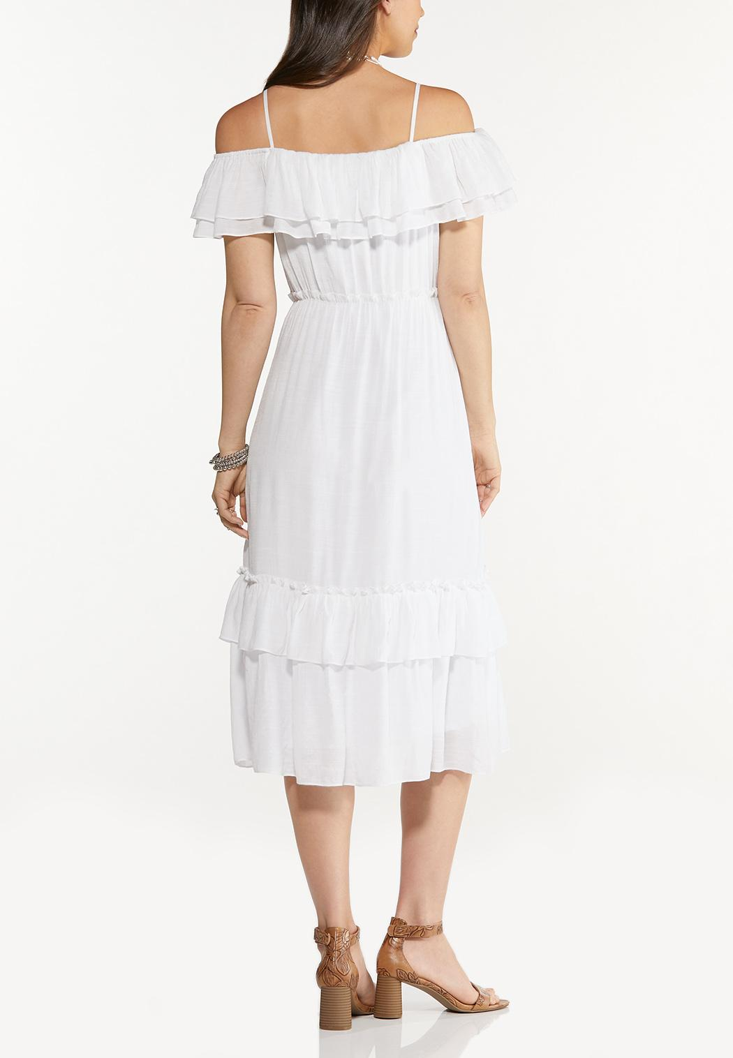 Flounced Off Shoulder Midi Dress (Item #44613697)
