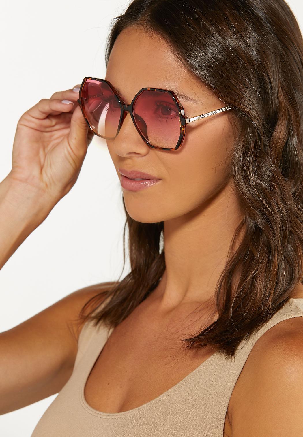 Pink Lens Tortoise Trim Sunglasses (Item #44614319)