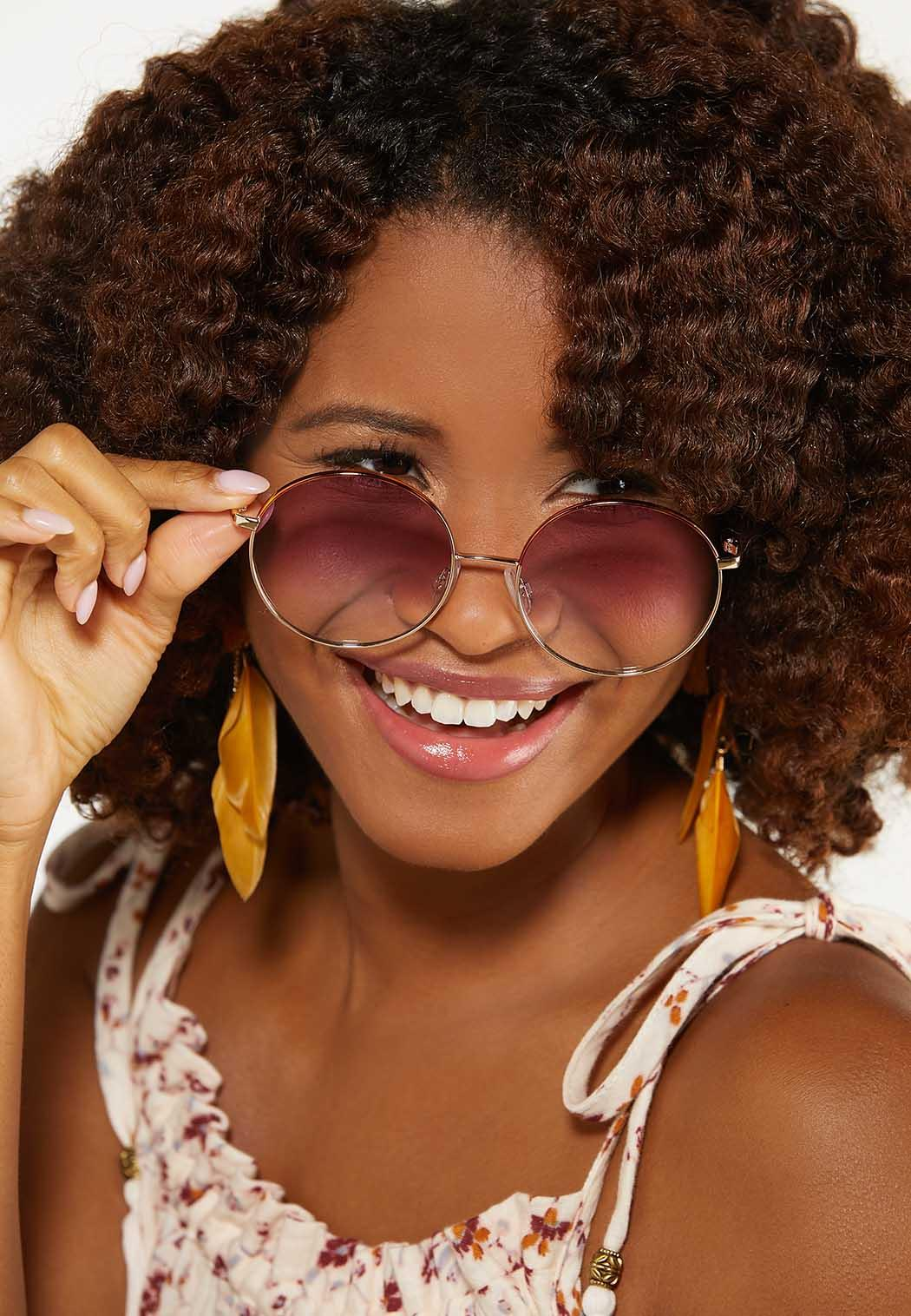 Pink Lens Round Sunglasses (Item #44614326)
