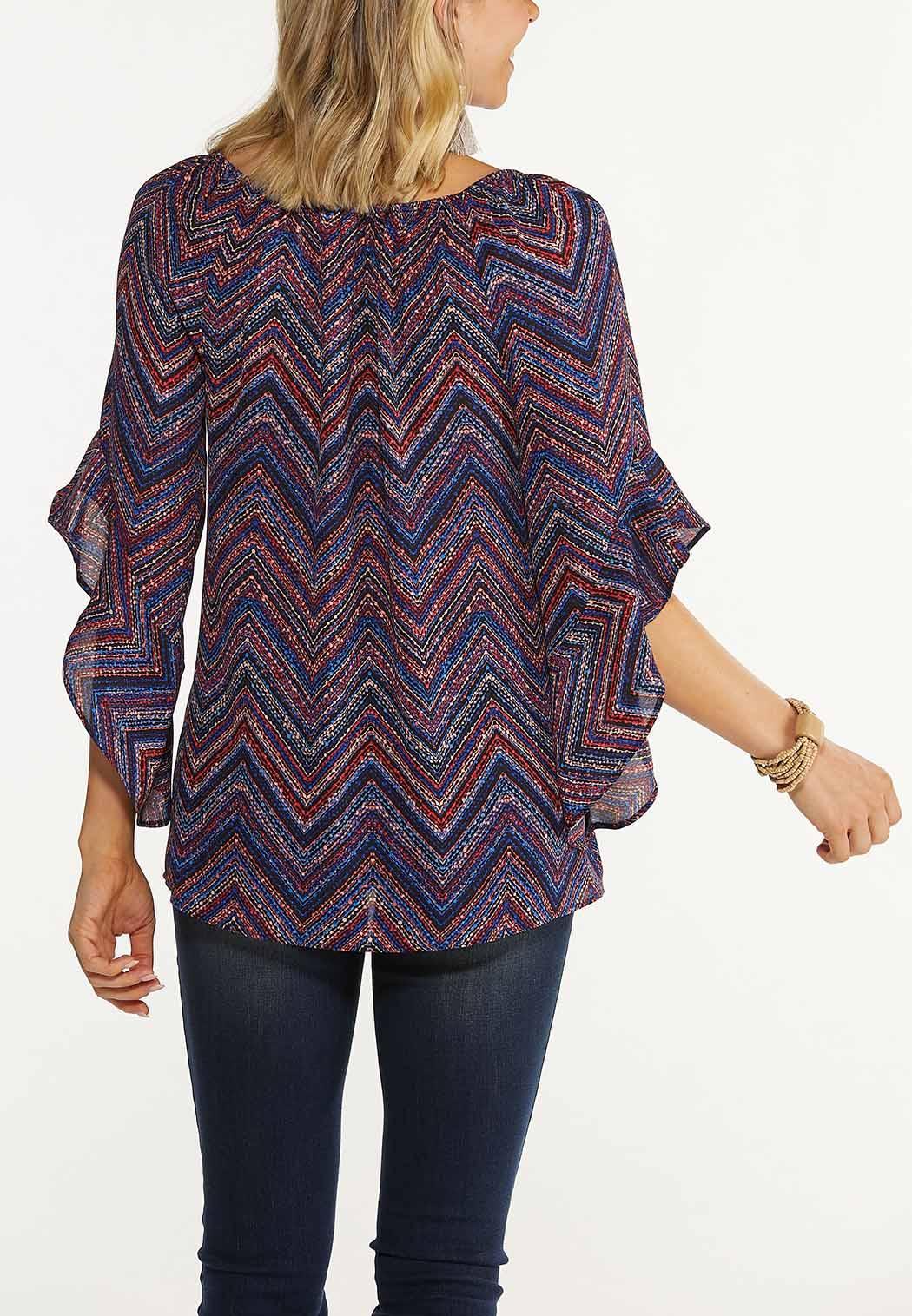 Plus Size Berry Chevron Bell Sleeve Top (Item #44614492)