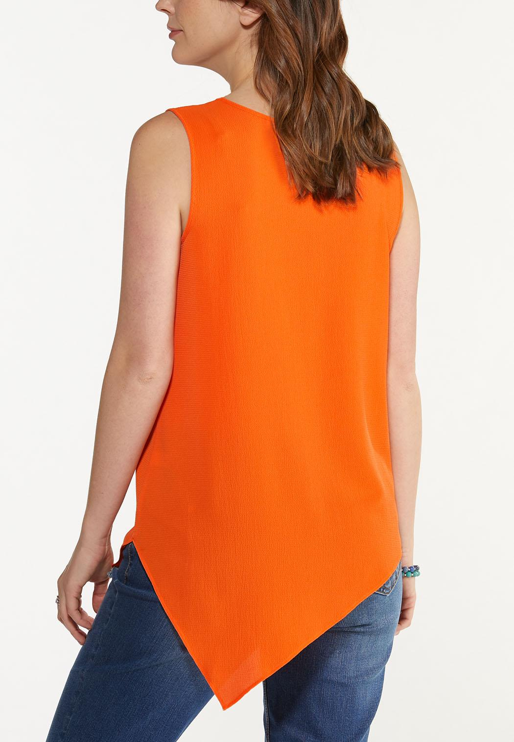Plus Size Citrus Asymmetrical Tunic (Item #44614533)