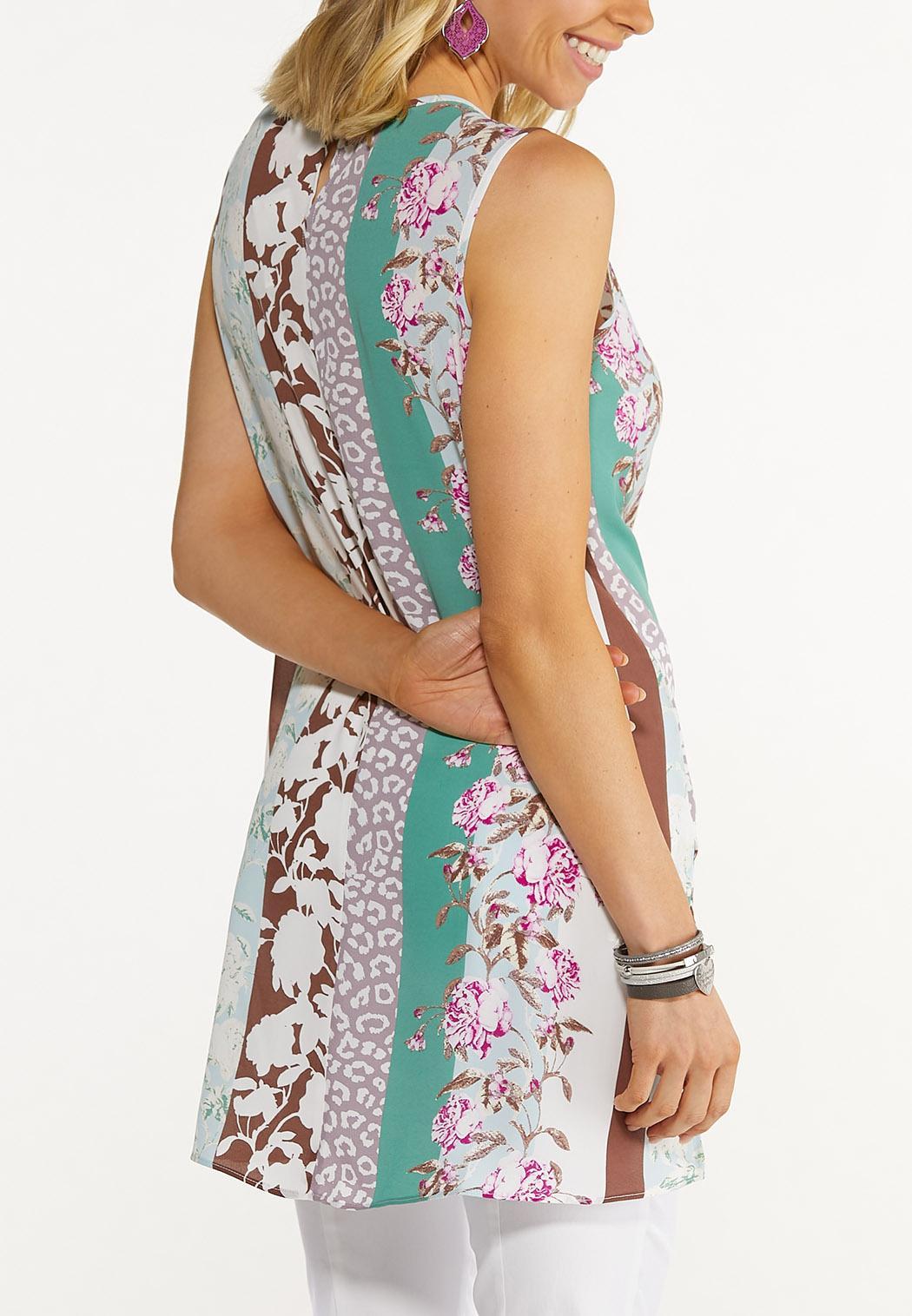 Plus Size Floral Stripe Tunic (Item #44614578)