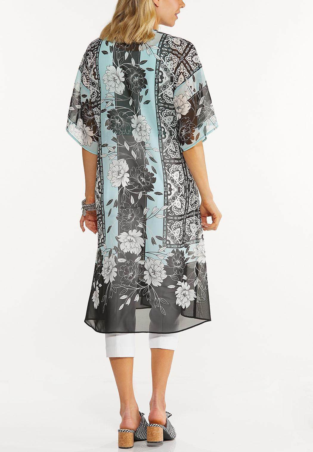 Plus Size Medallion Border Kimono (Item #44614606)