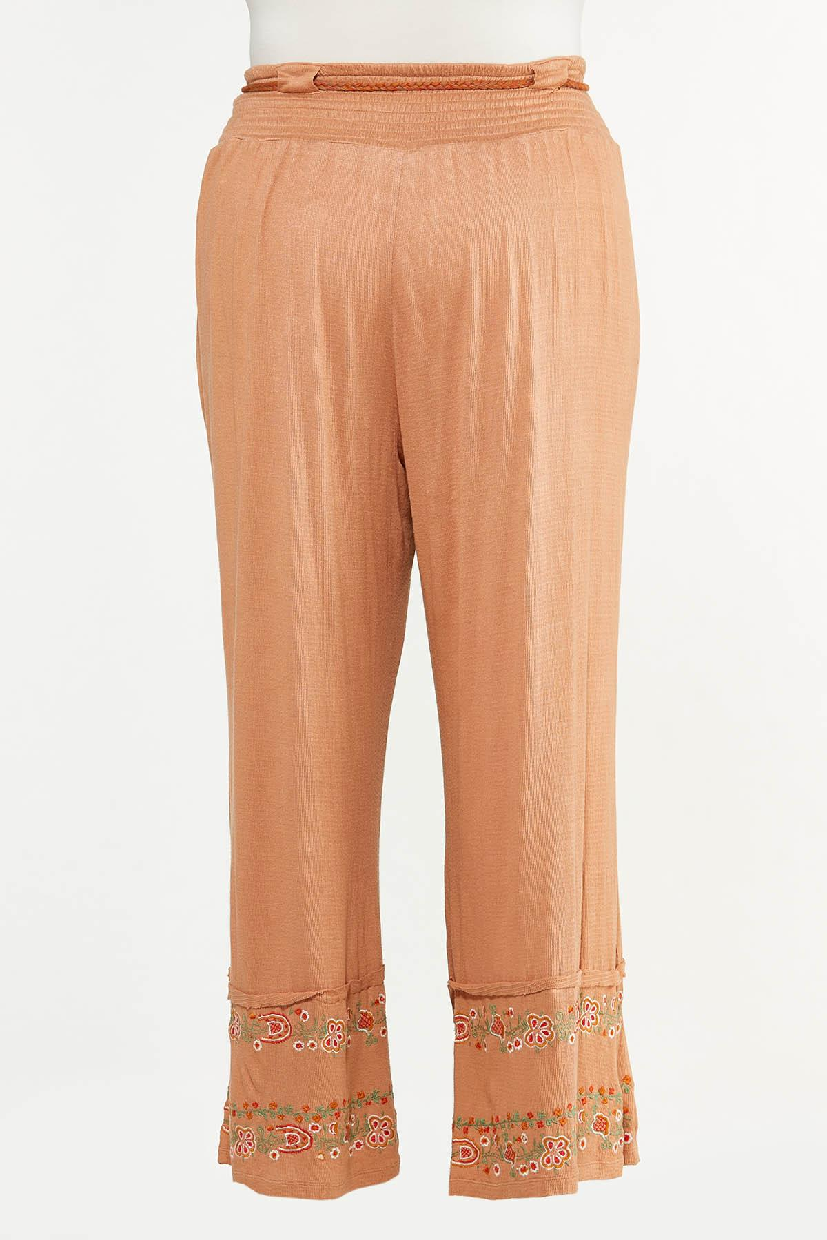 Plus Size Floral Embroidered Pants (Item #44614607)