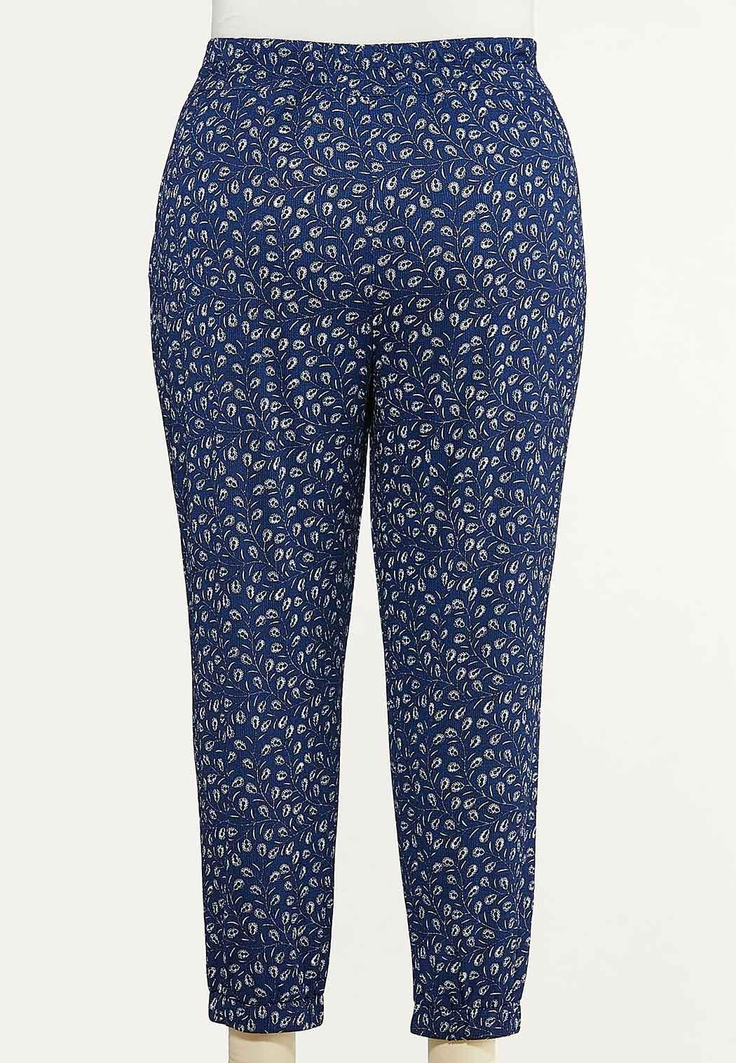 Plus Size Peacock Feather Joggers (Item #44614676)