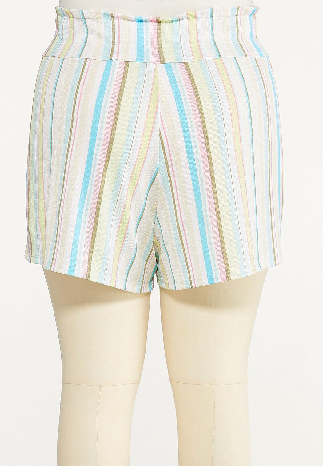 Plus Size Gauzy Summer Stripe Shorts (Item #44614744)