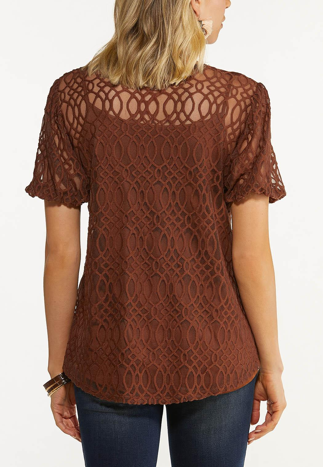 Plus Size Embroidered Balloon Sleeve Top (Item #44614814)