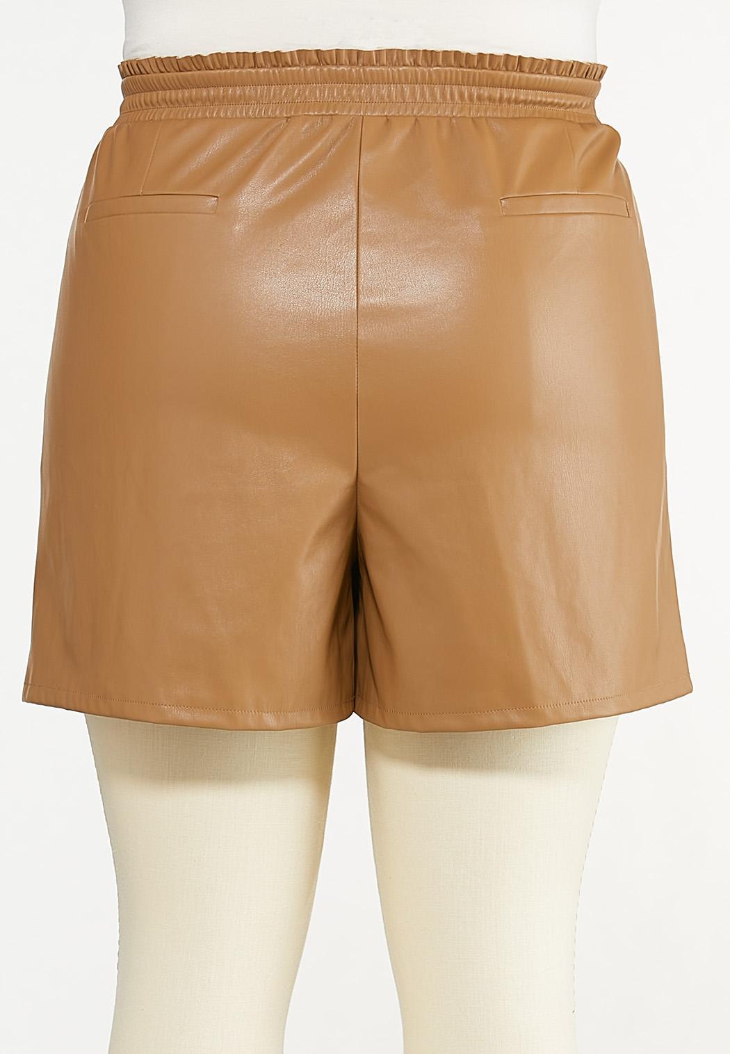Plus Size Faux Leather Shorts (Item #44614815)