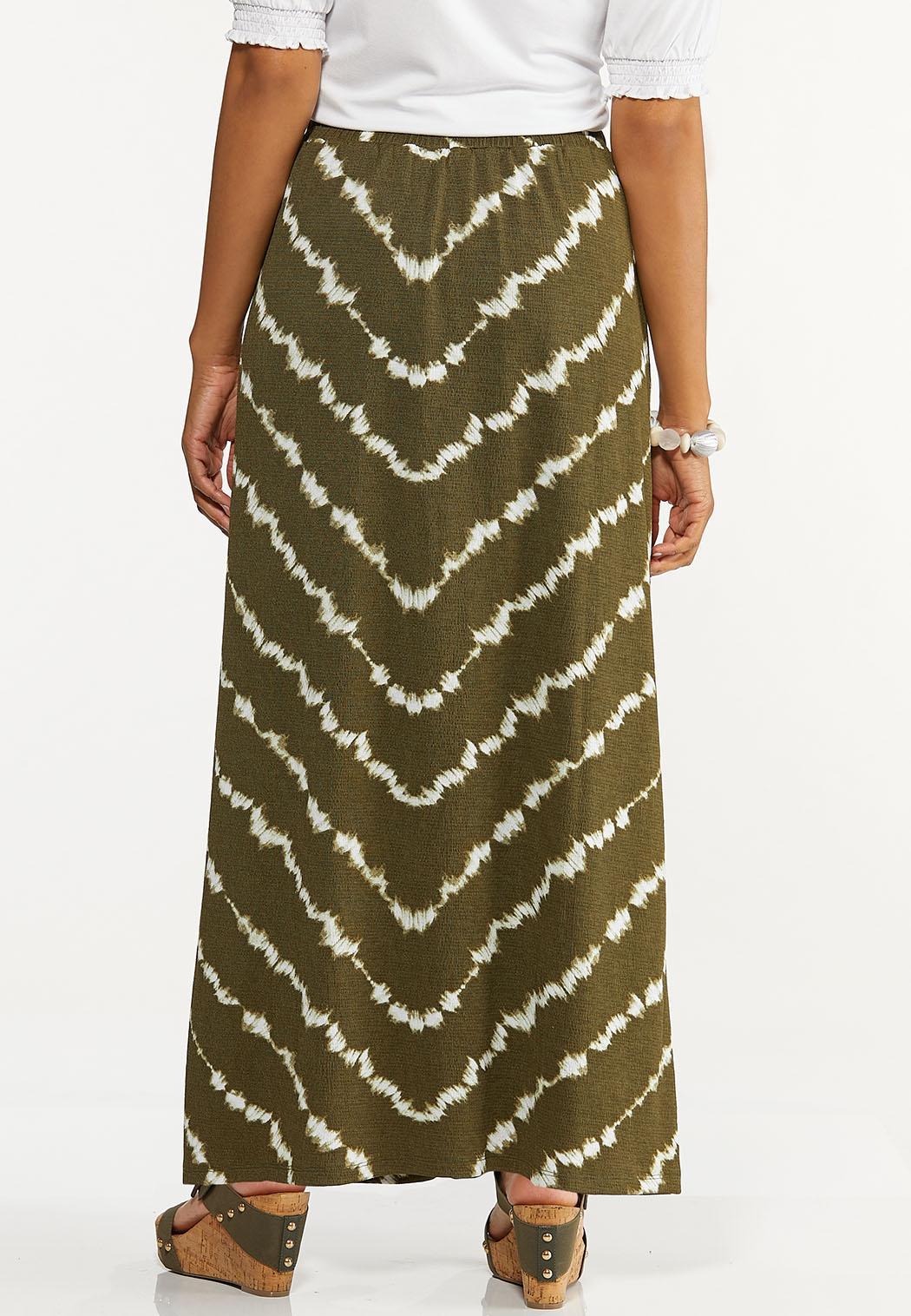 Plus Size Olive Tie Dye Maxi Skirt (Item #44614867)