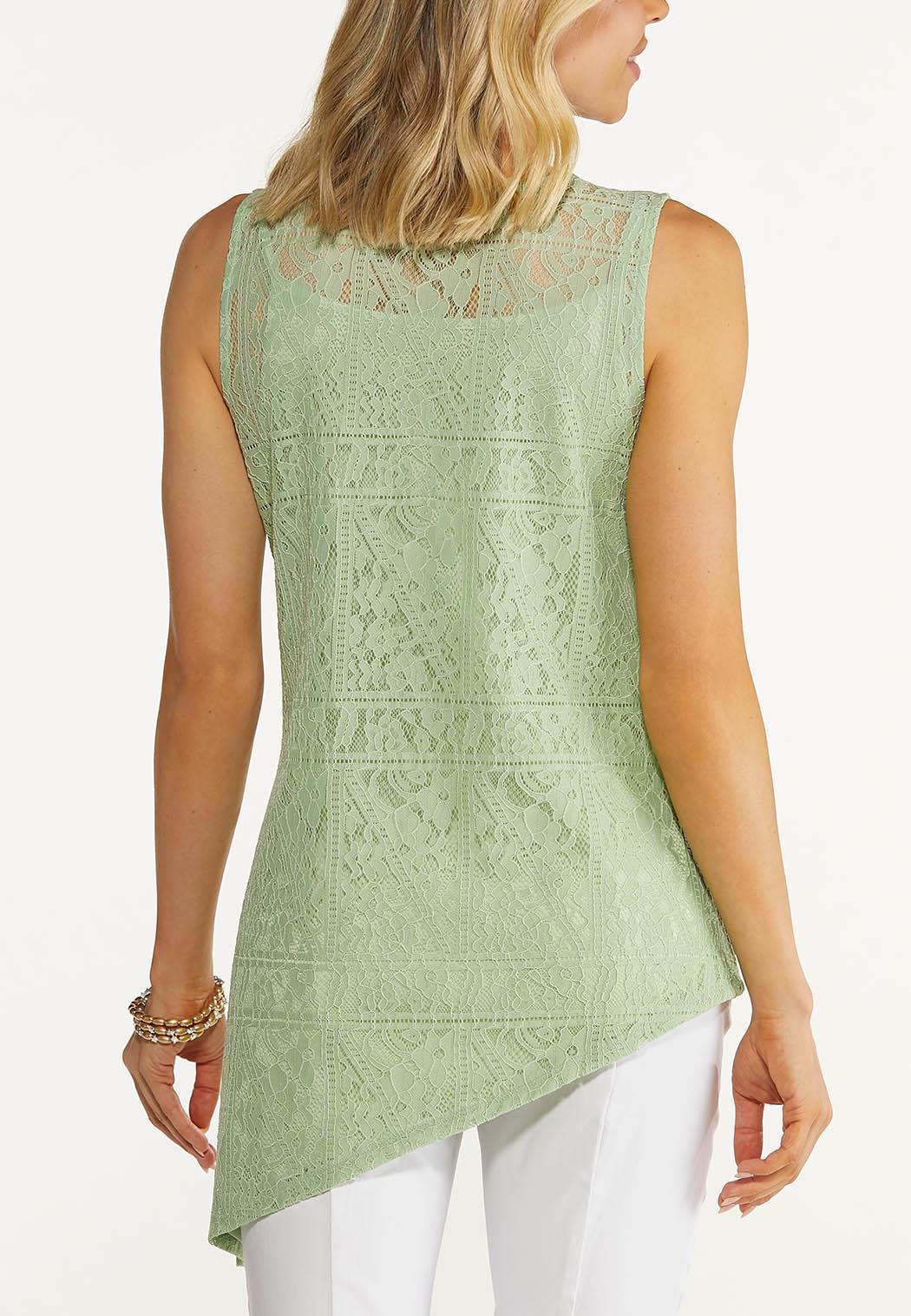 Plus Size Green Asymmetrical Lace Tank (Item #44614898)