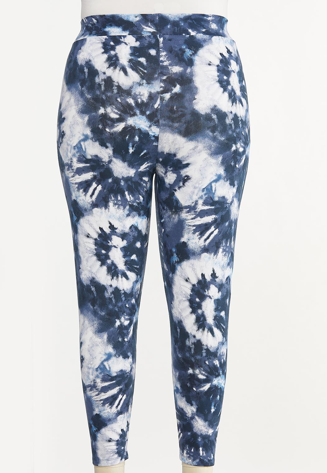 Plus Size Cropped Tie Dye Leggings (Item #44615008)