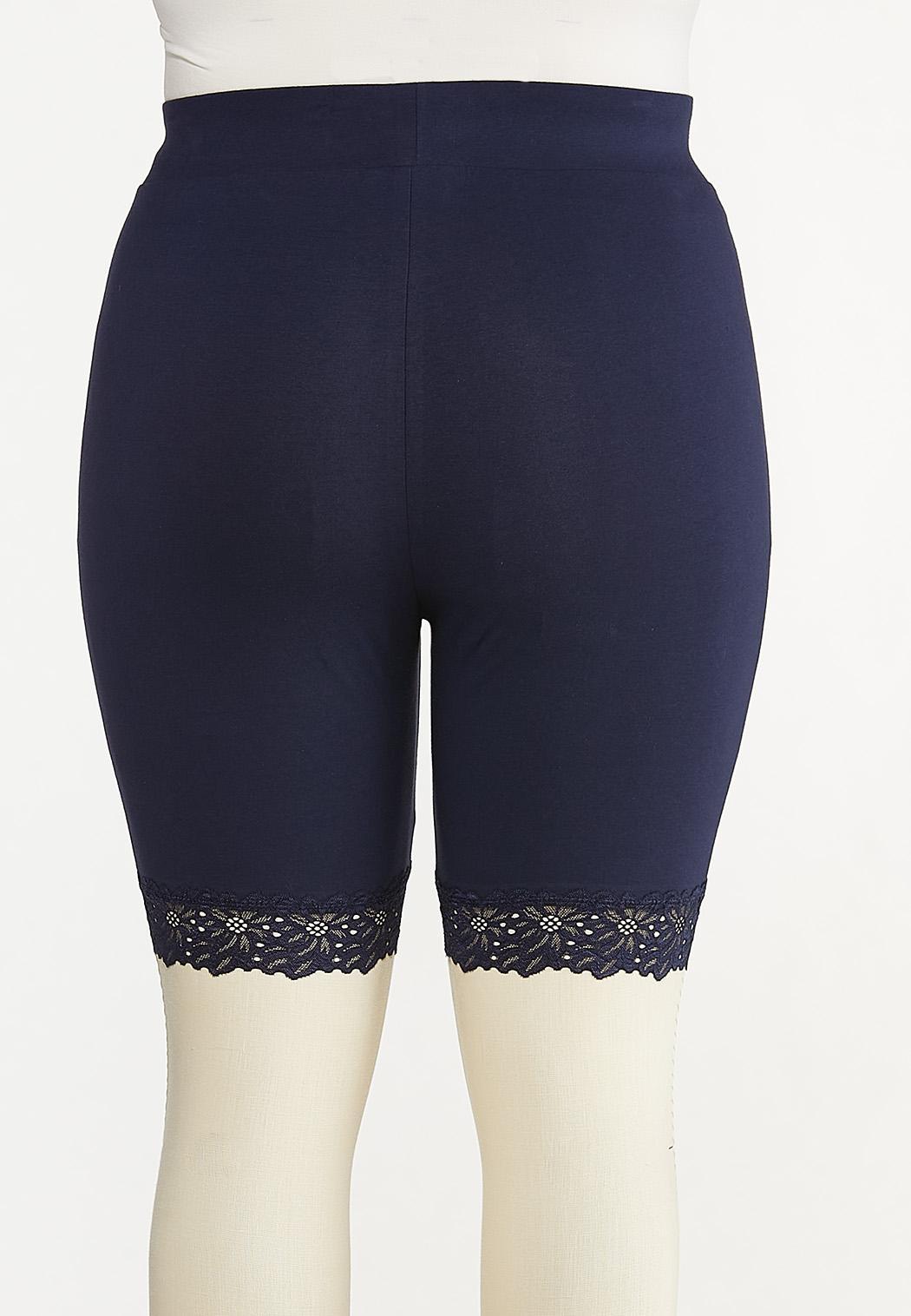 Plus Size Lace Trim Biker Shorts (Item #44615083)