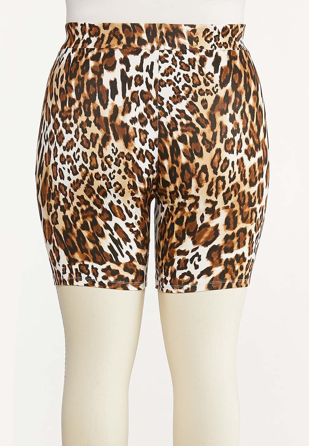 Plus Size Leopard Biker Shorts (Item #44615099)