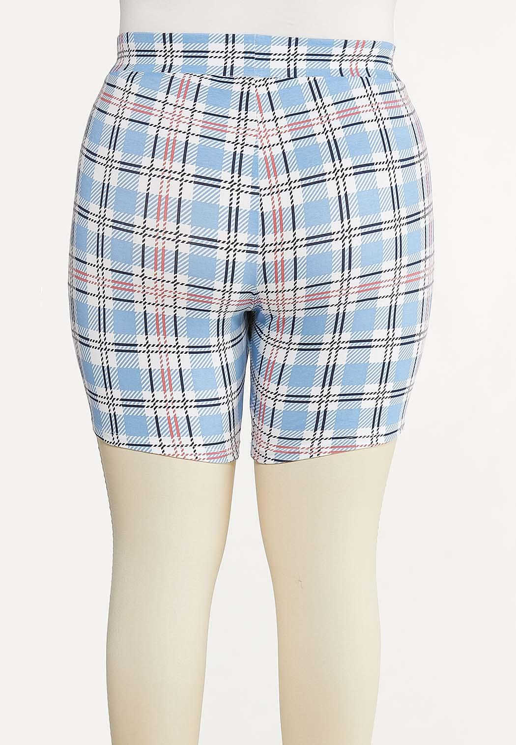Plus Size Summer Plaid Biker Shorts (Item #44615112)