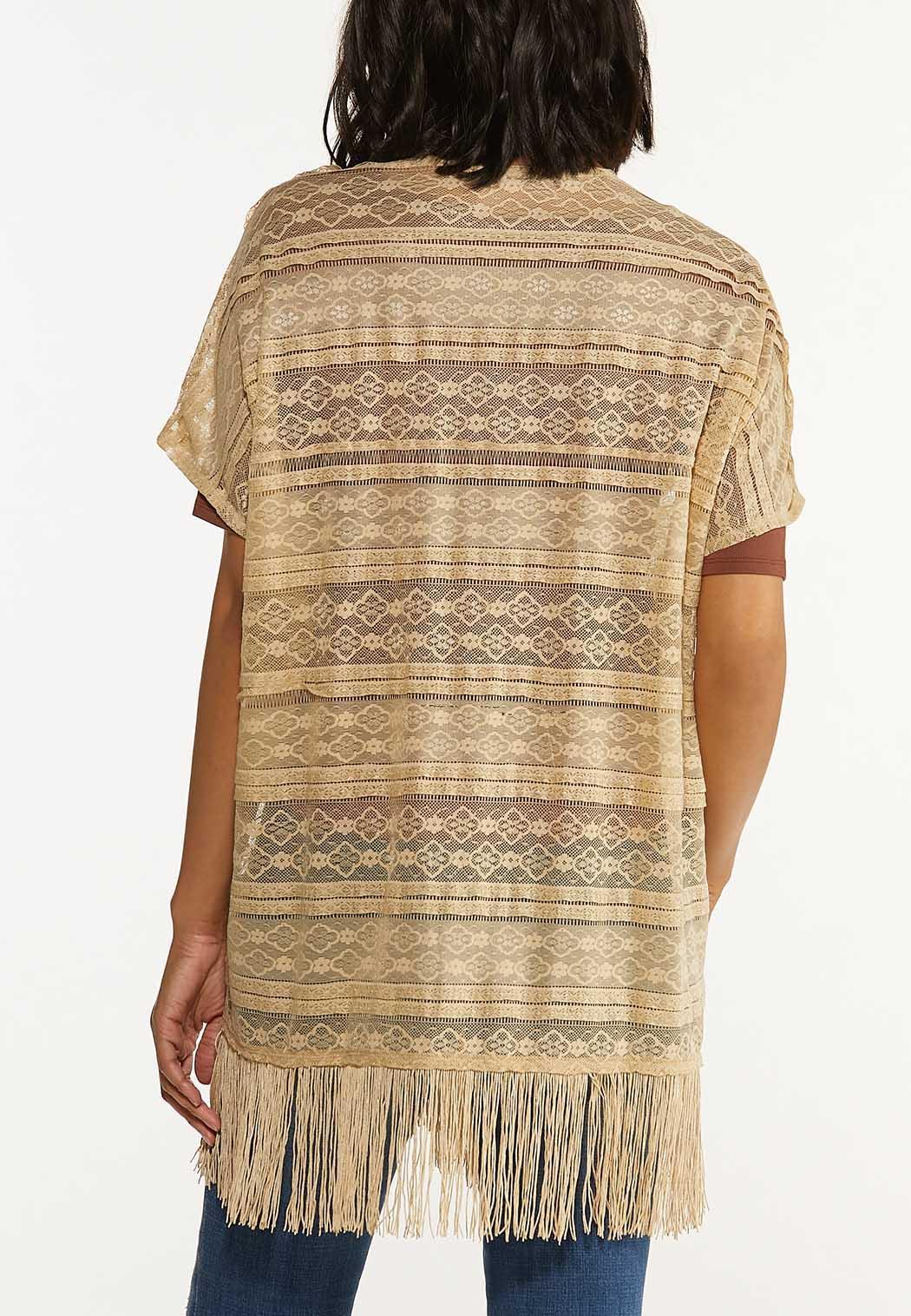 Plus Size Lace Fringe Cardigan  (Item #44615203)
