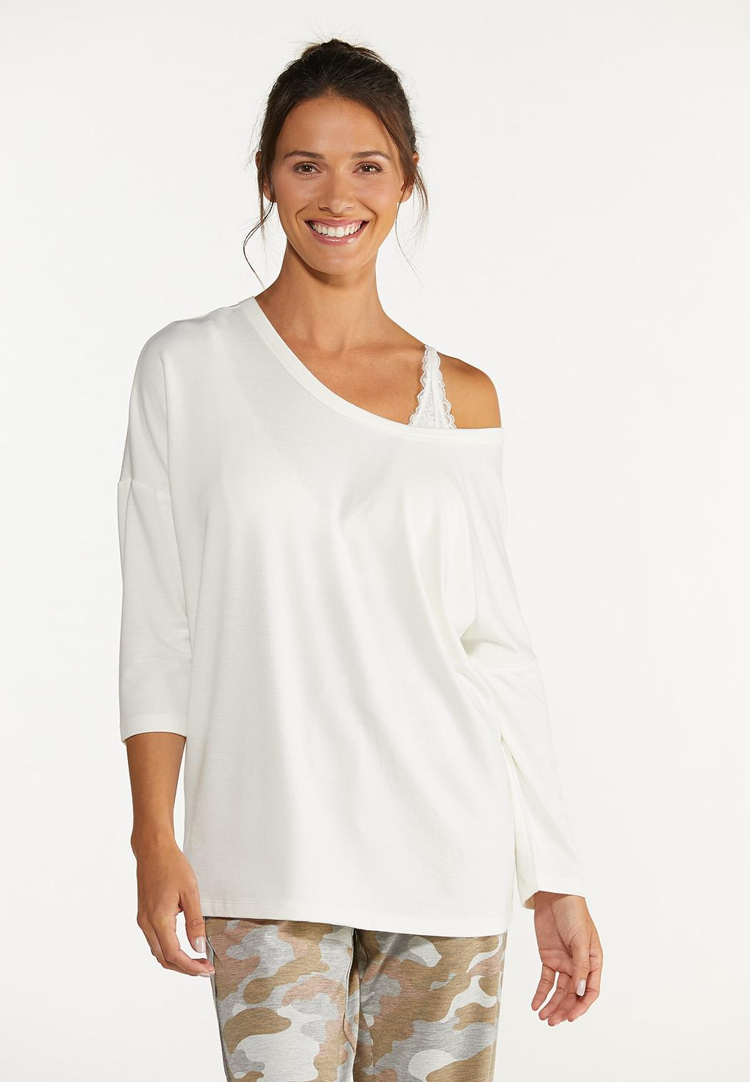 Plus Size Cutout French Terry Top (Item #44615321)