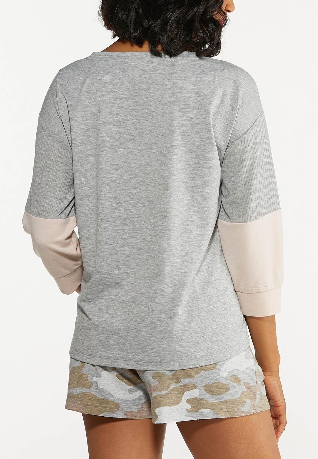 Plus Size Colorblock Camo Top (Item #44615462)