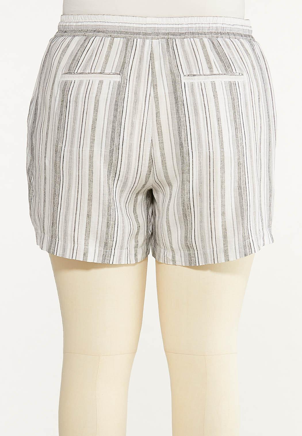 Plus Size Pepper Stripe Linen Shorts (Item #44615518)