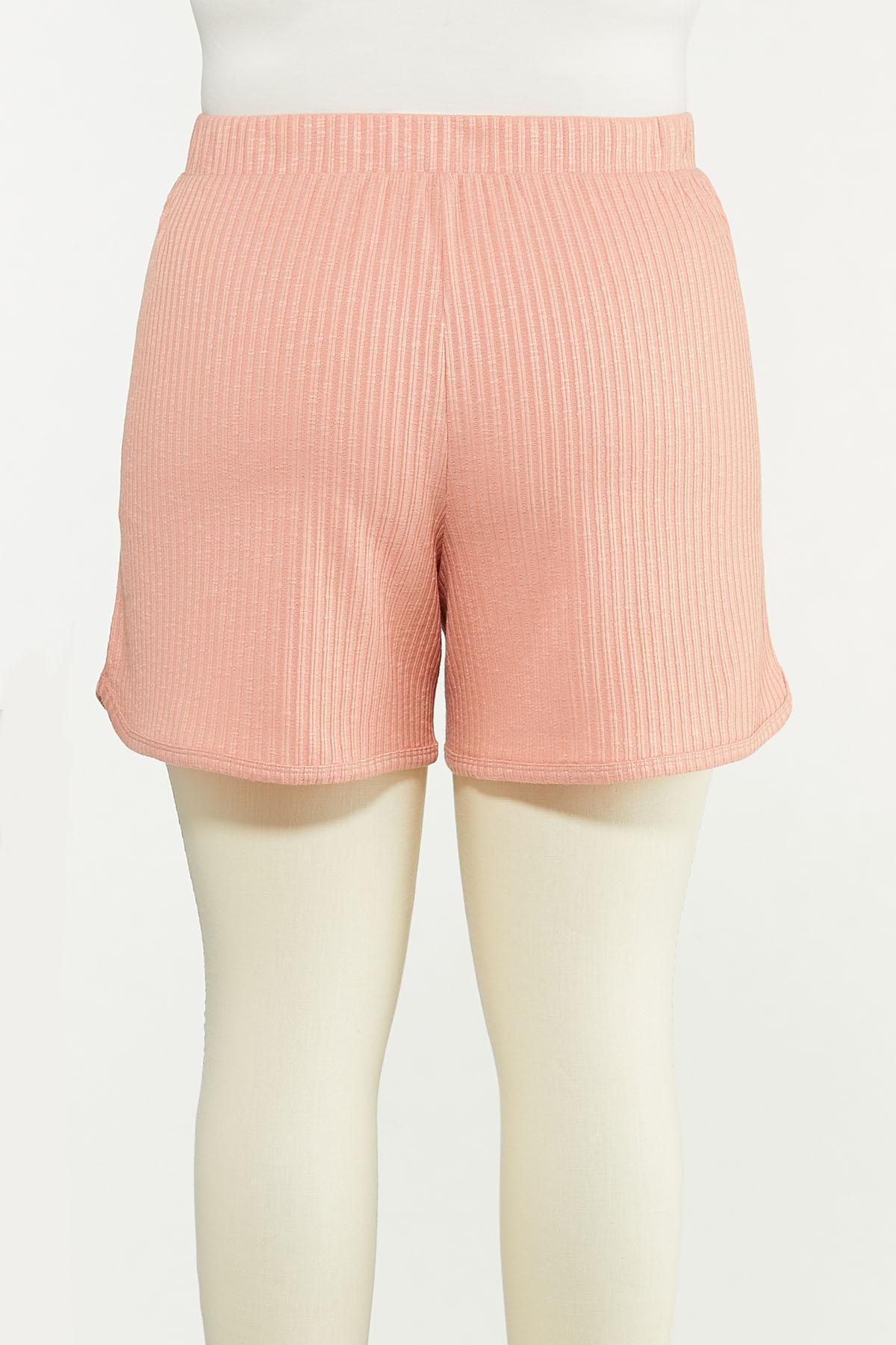 Plus Size Blushing Ribbed Shorts (Item #44615568)