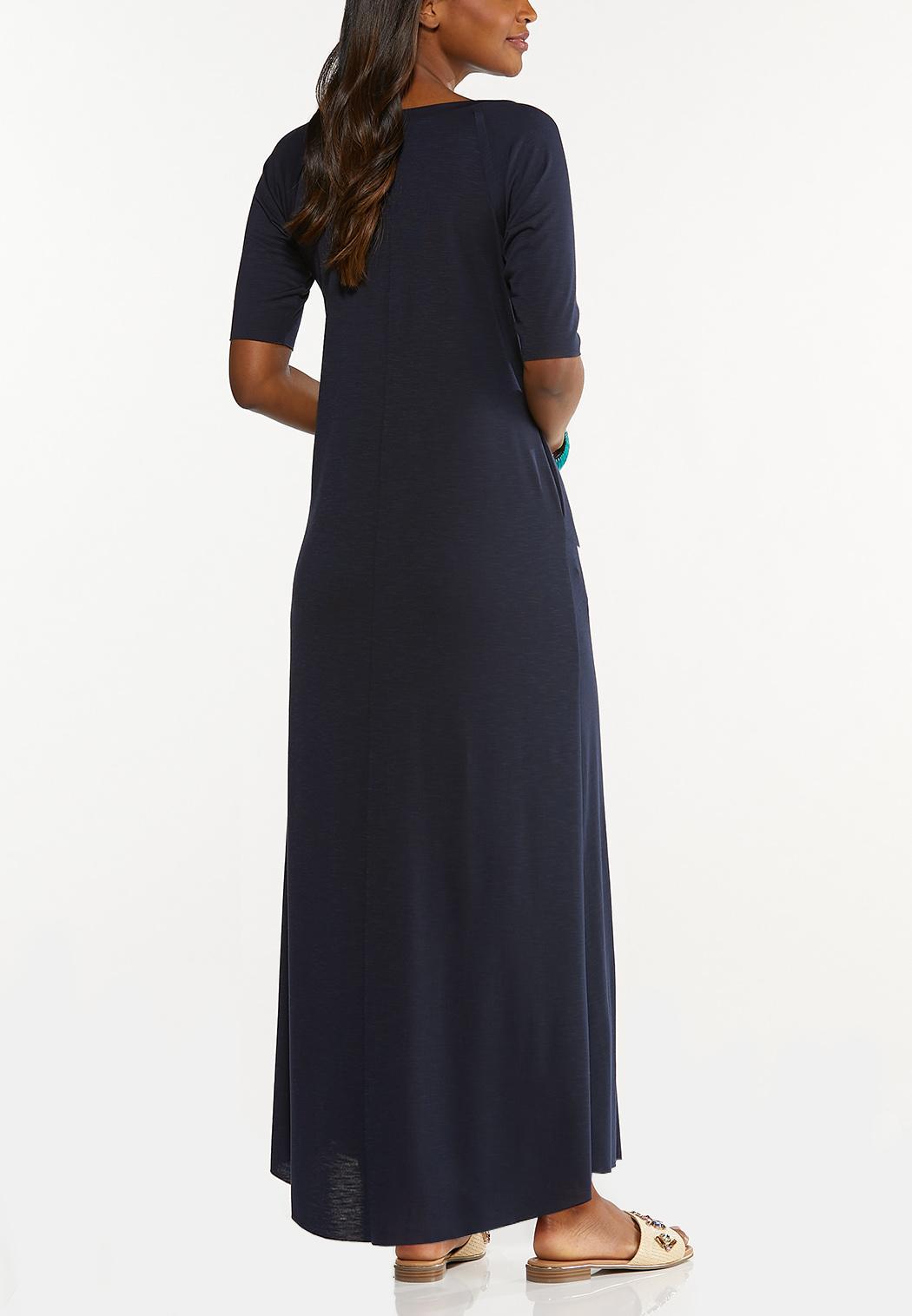 Plus Size Raw Edge Trim Maxi Dress (Item #44616101)