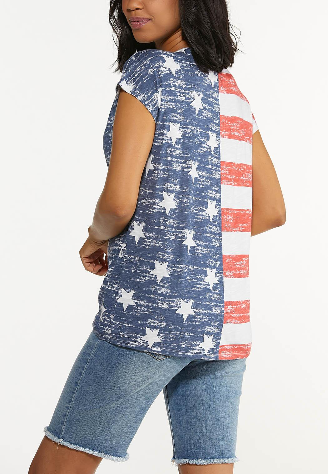 Plus Size Stars And Stripes Knotted Tee (Item #44616149)