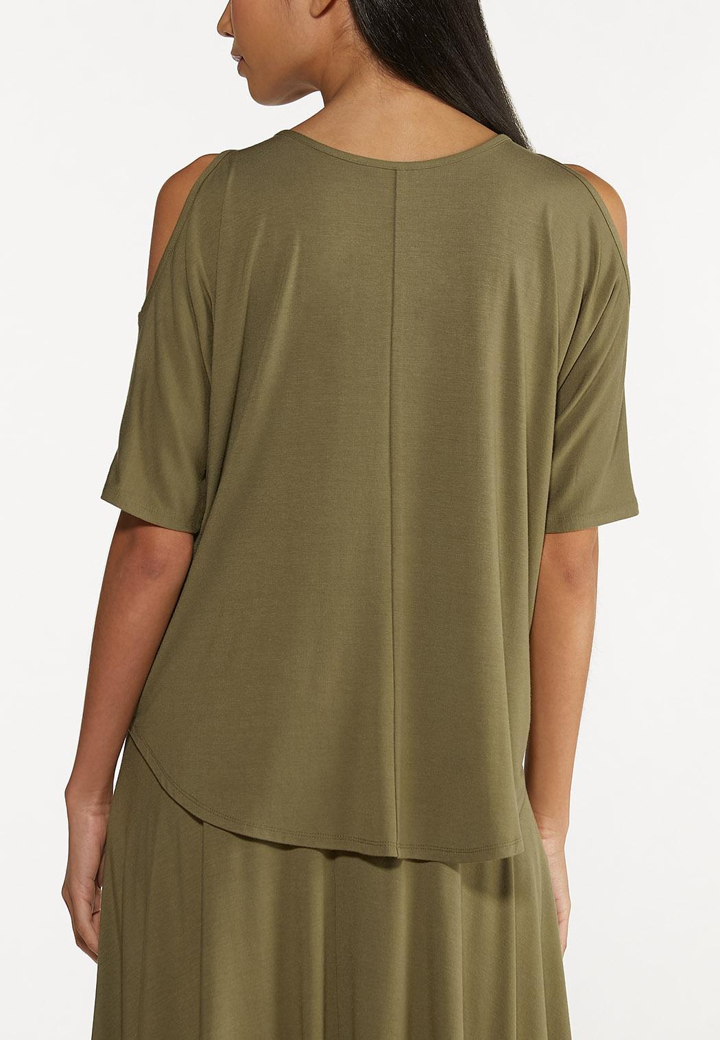 Plus Size Olive Cold Shoulder Top (Item #44616547)