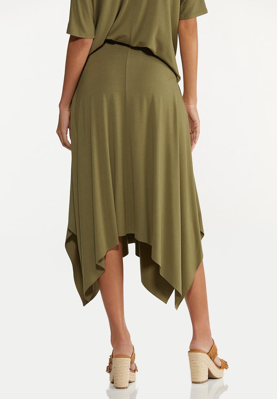 Plus Size Olive Hanky Hem Skirt (Item #44616552)