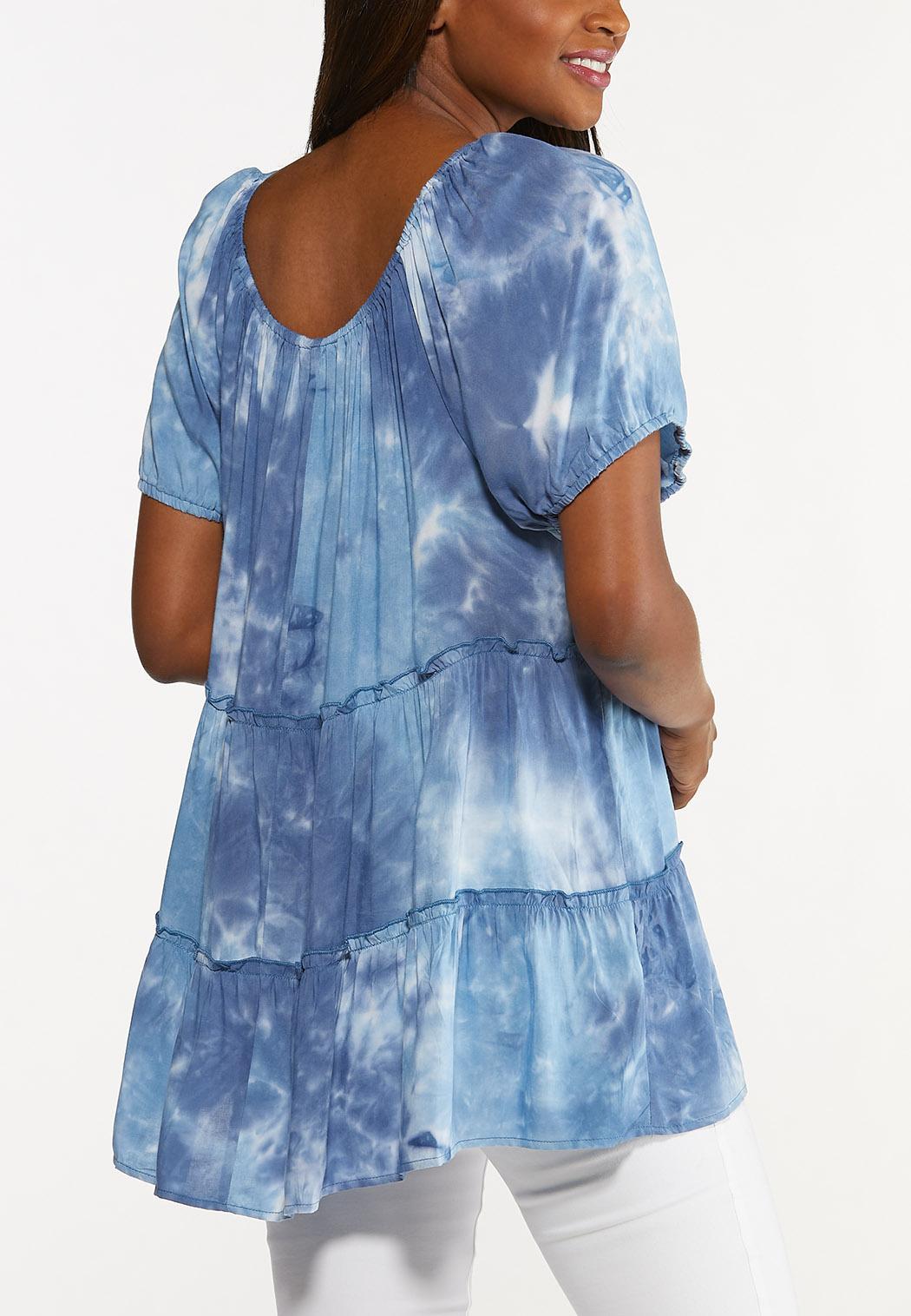 Plus Size Tie Dye Poet Top (Item #44616709)