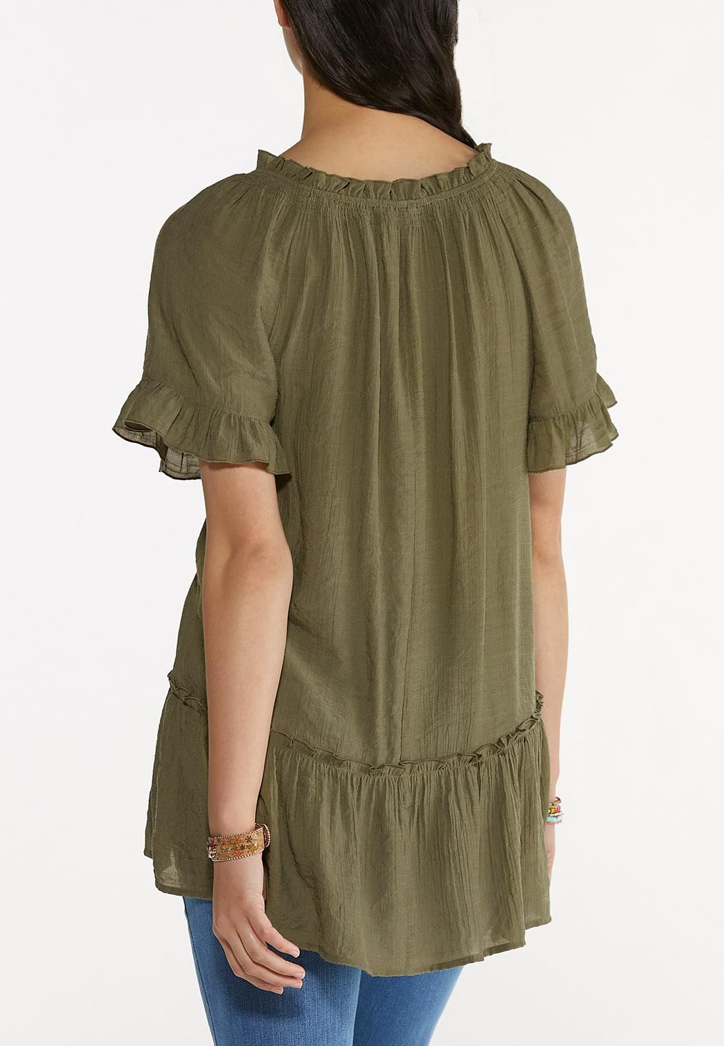 Plus Size Olive Ruffled Tunic (Item #44616755)