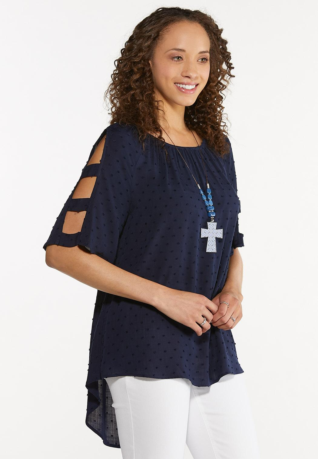 Dotted Ladder Sleeve Top (Item #44616882)