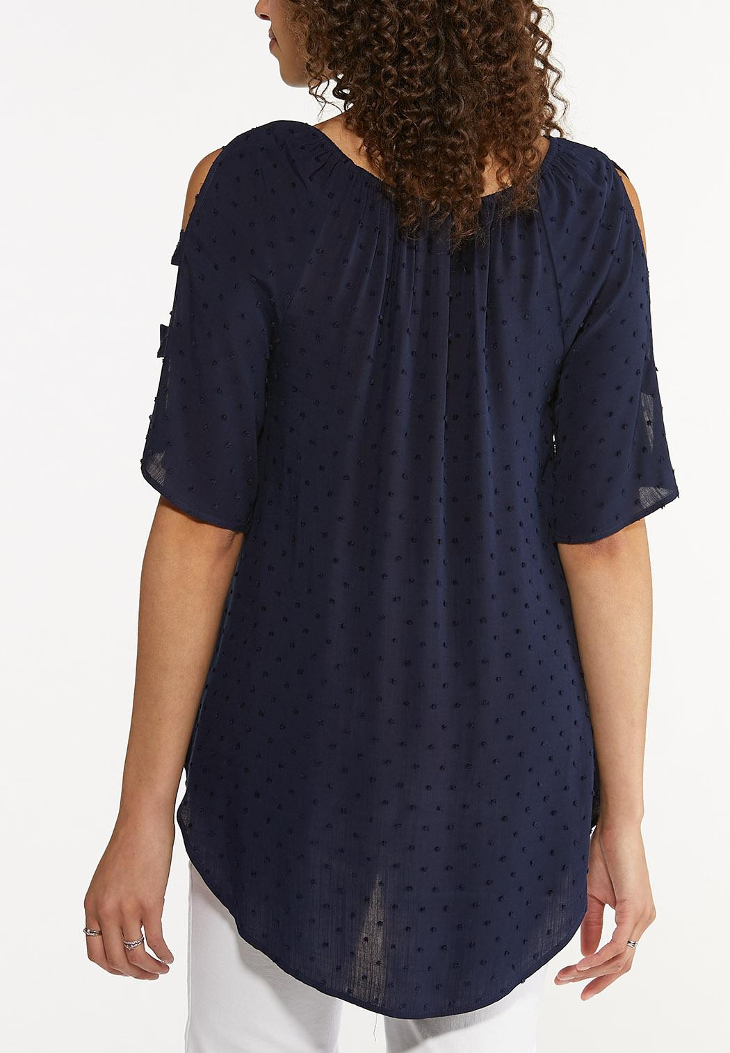 Plus Size Dotted Ladder Sleeve Top (Item #44616921)