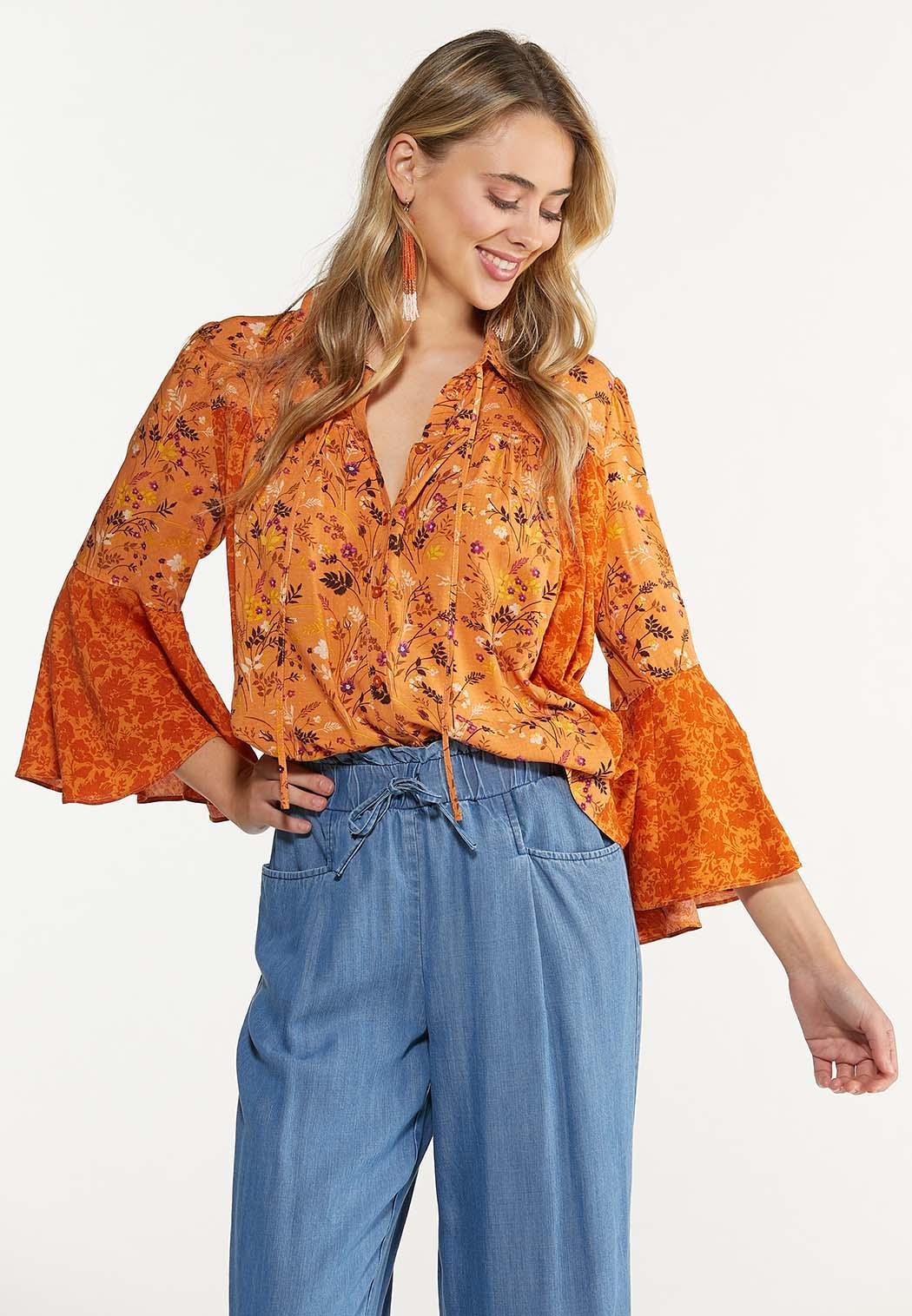 Orange Floral Poet Top (Item #44616954)
