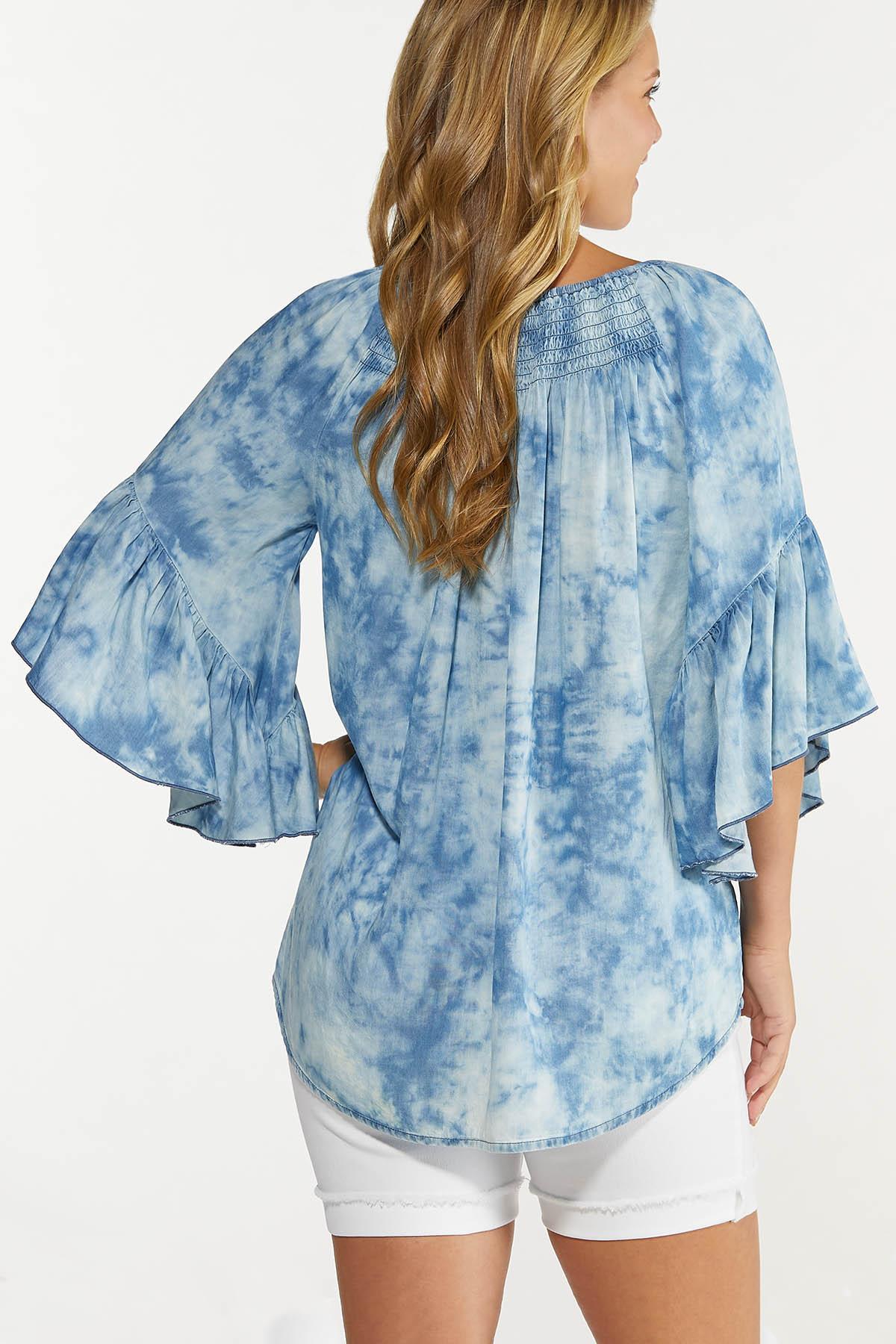 Plus Size Tie Dye Chambray Top (Item #44617082)