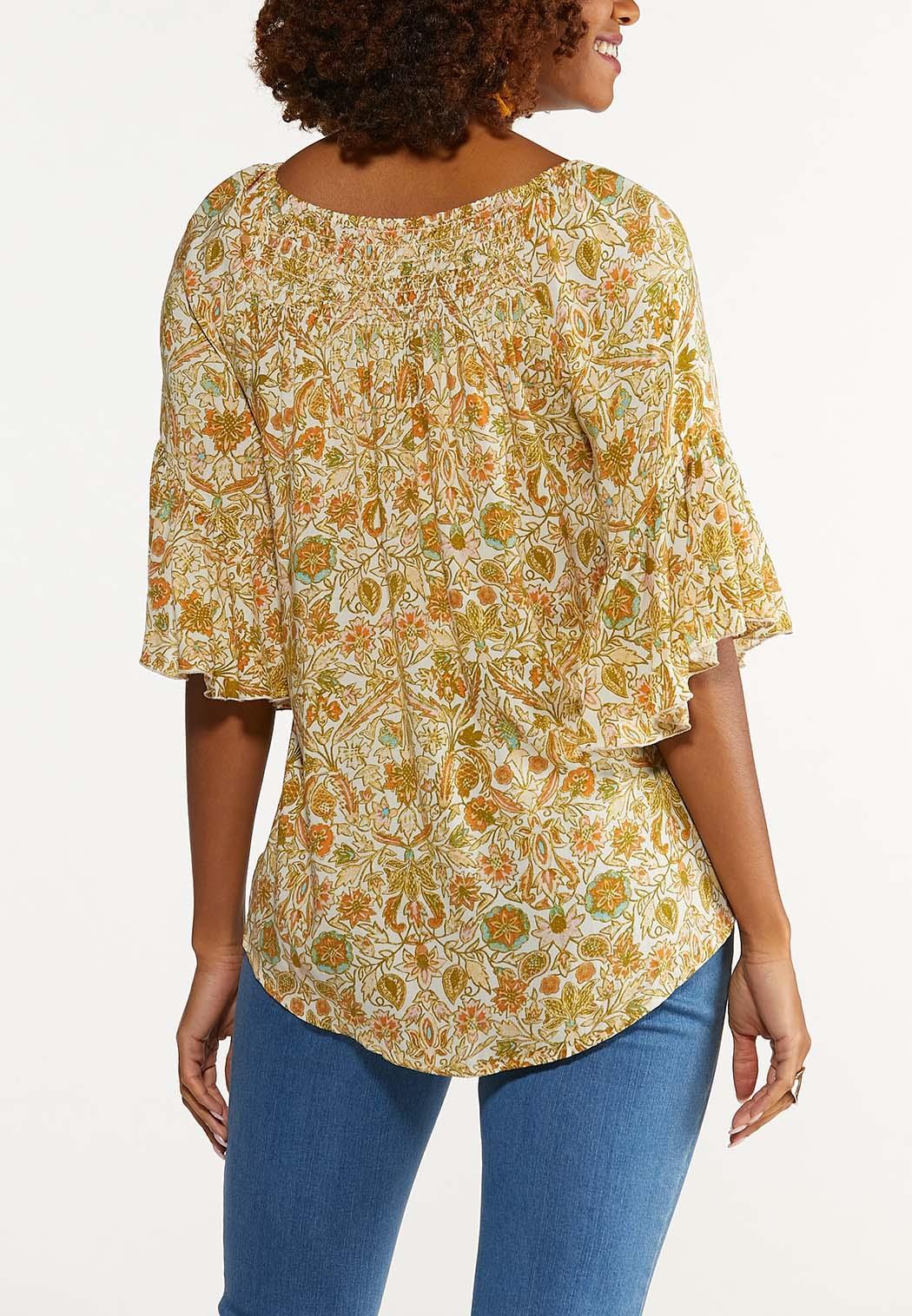 Plus Size Smocked Prairie Floral Top (Item #44617166)