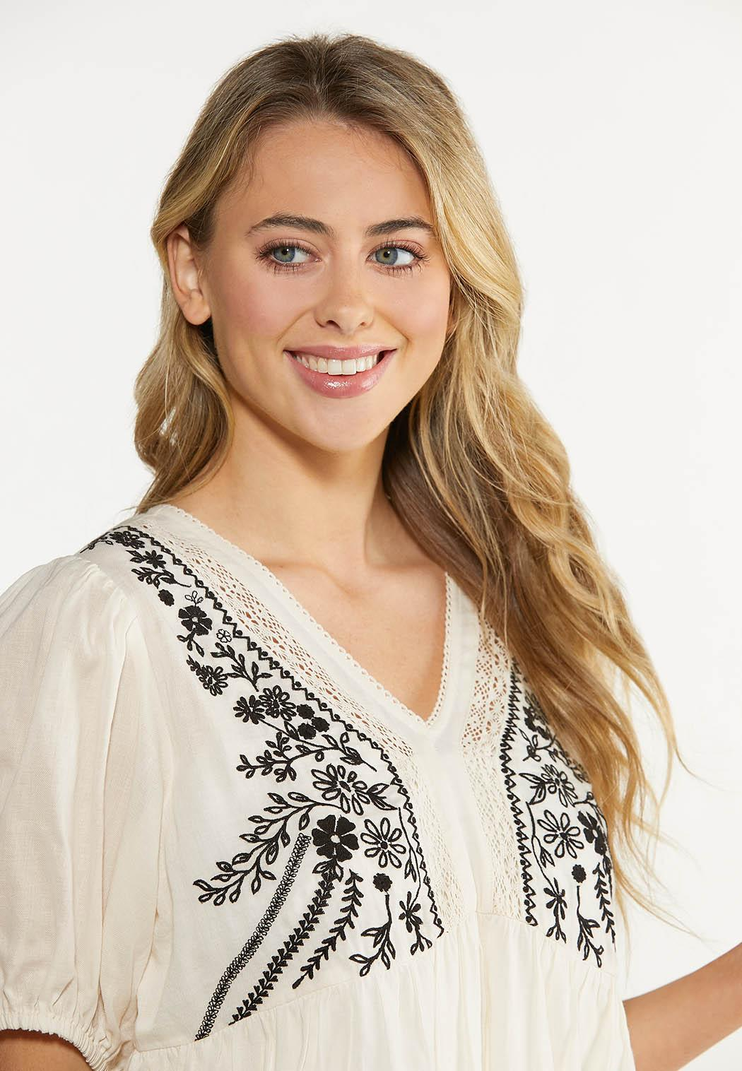 Plus Size Embroidered Babydoll Top (Item #44617270)