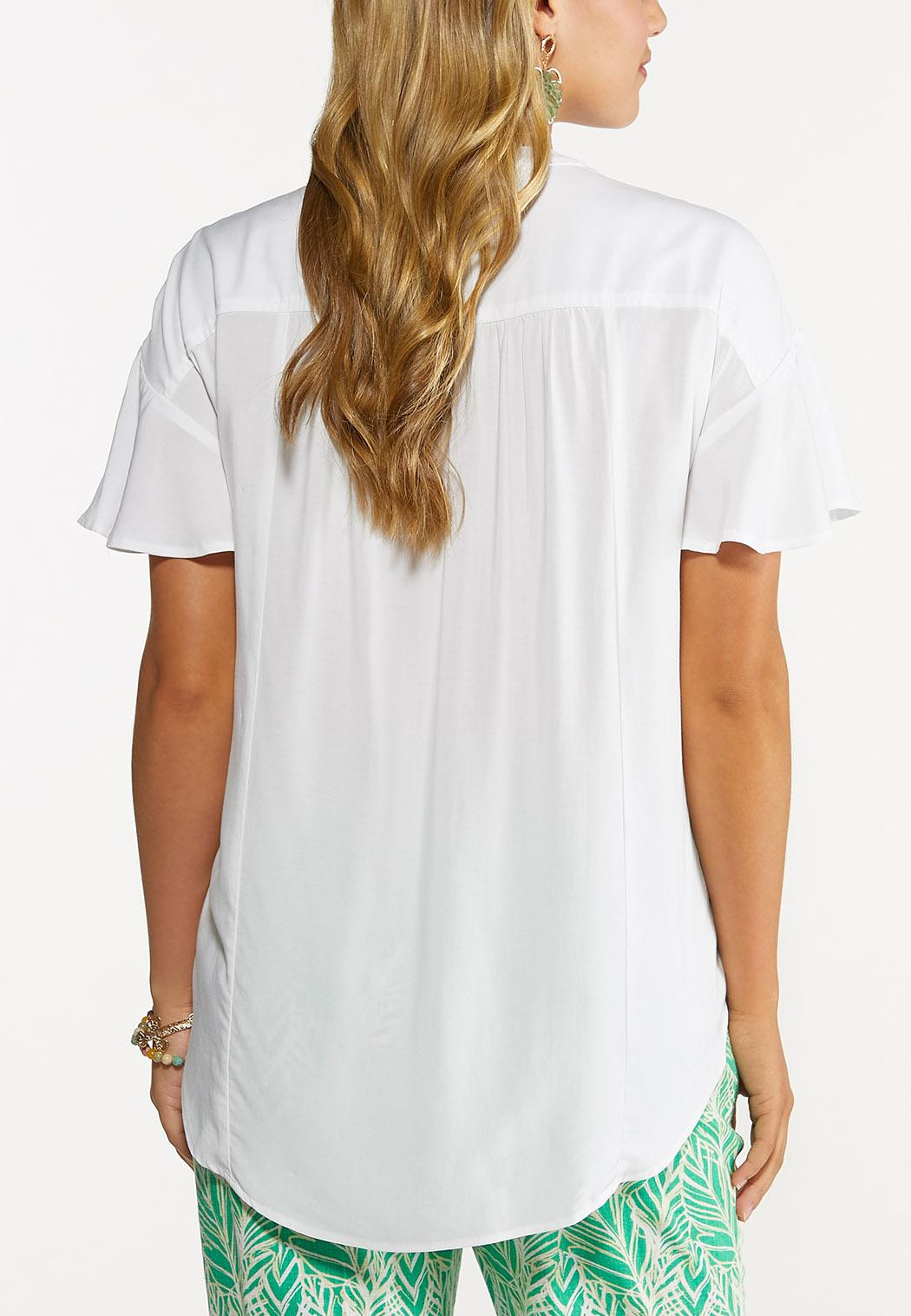 Plus Size White High-Low Top (Item #44617301)
