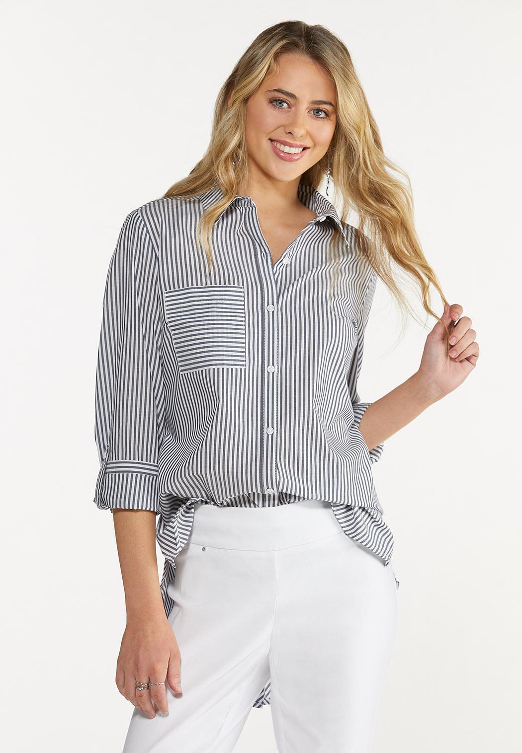 Plus Size Striped Button Down Shirt (Item #44617432)
