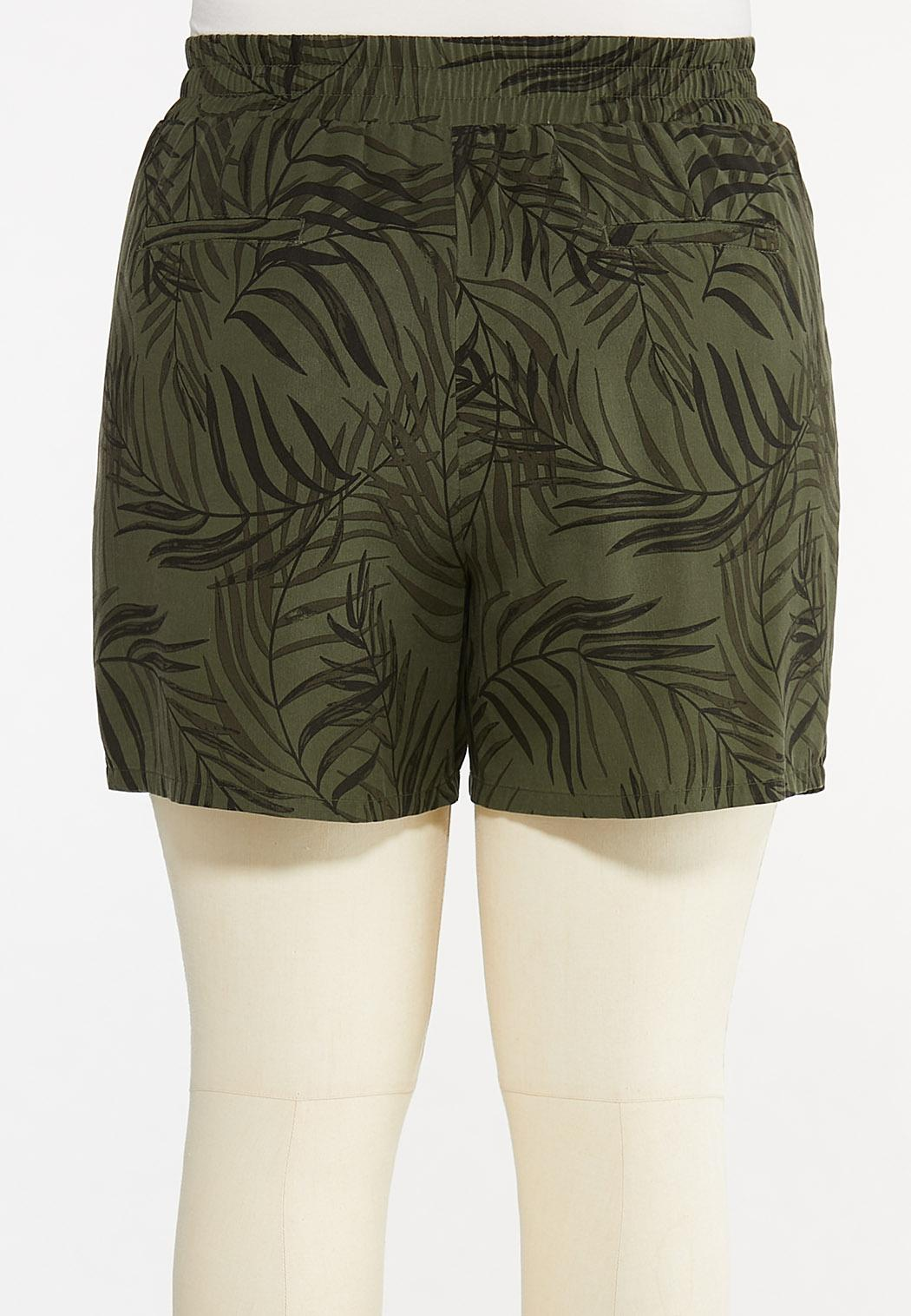 Plus Size Palm Tencel Shorts (Item #44617538)