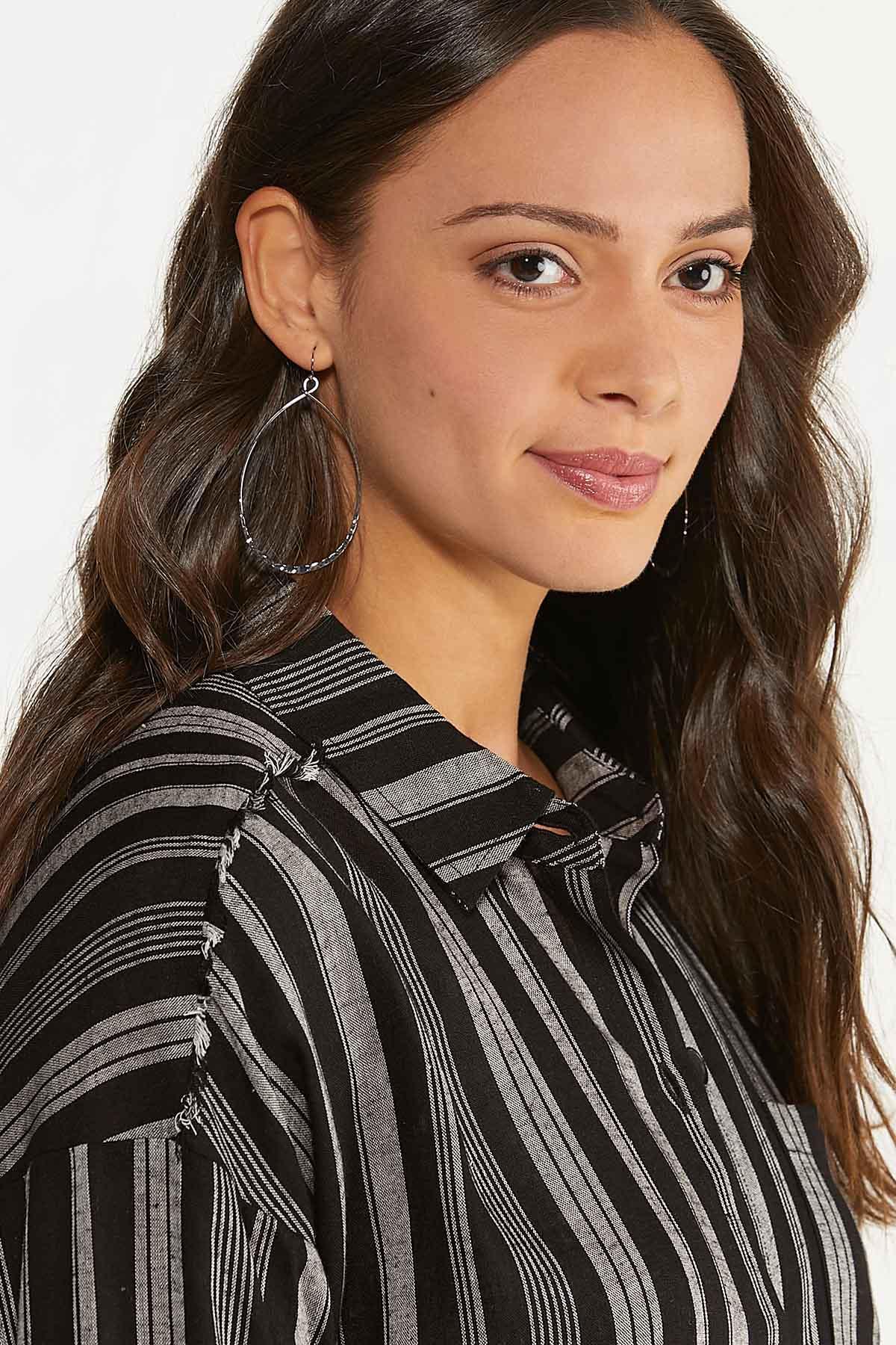 Plus Size Frayed Stripe Tunic (Item #44617576)