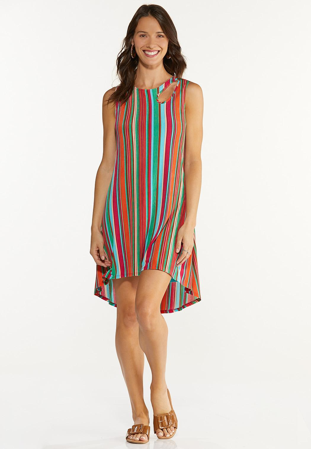 Plus Size Multi Stripe Ribbed Dress (Item #44617661)