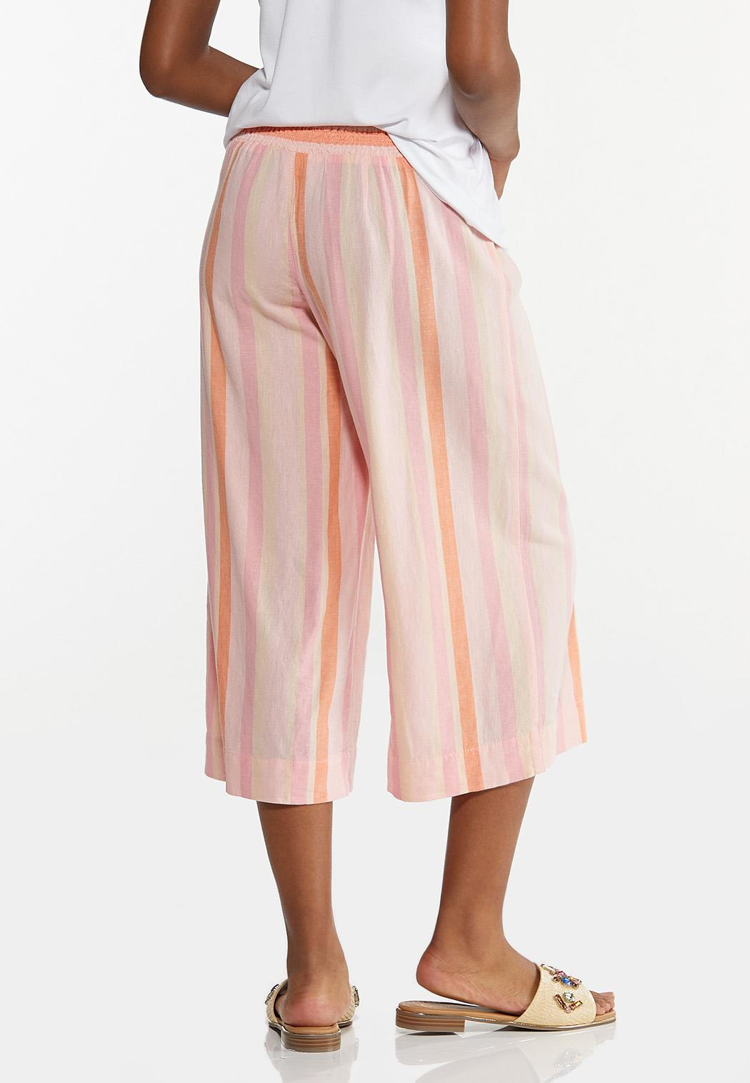 Cropped Striped Linen Pants (Item #44617685)