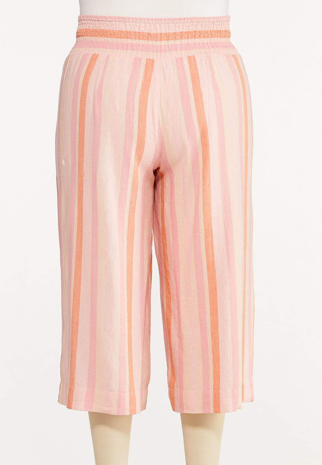 Plus Size Cropped Striped Linen Pants (Item #44617695)