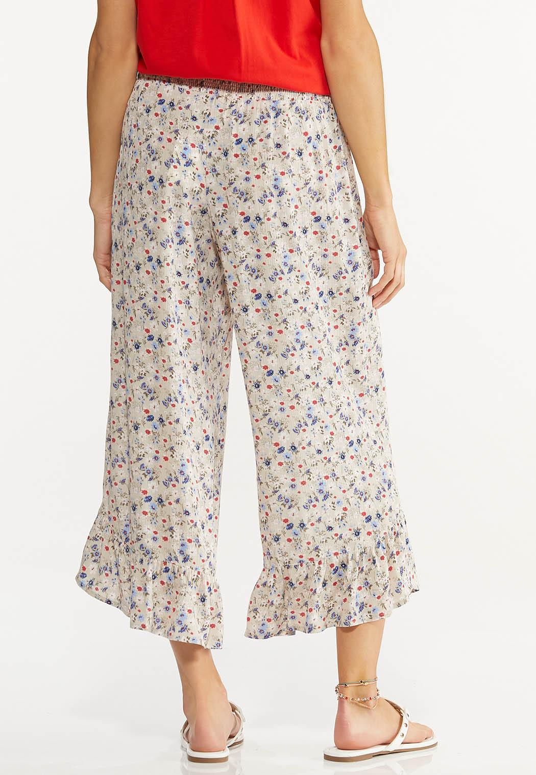 Cropped Ruffled Floral Pants (Item #44617725)